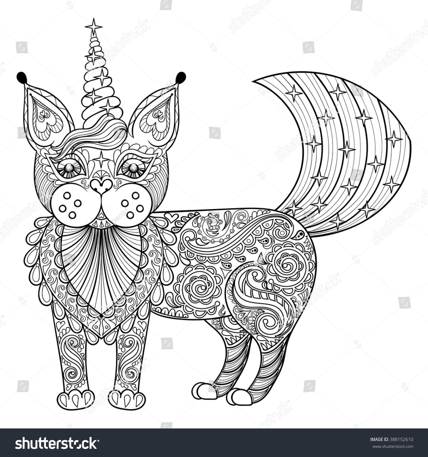 Vector Zentangle Magic Cat Unicorn Black Stock Vector ...