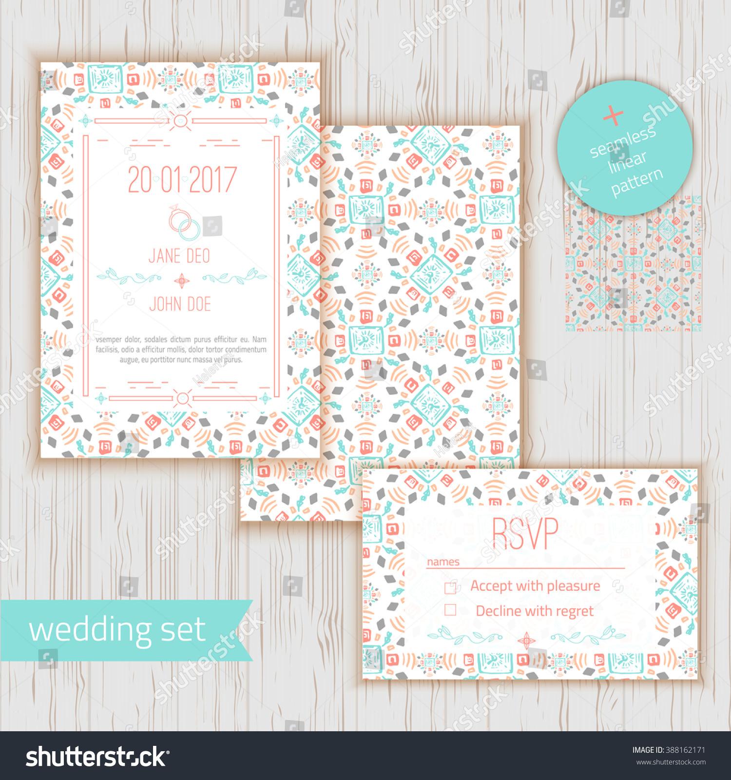Stylish Geometric Save Date Wedding Invitation Stock Vector ...