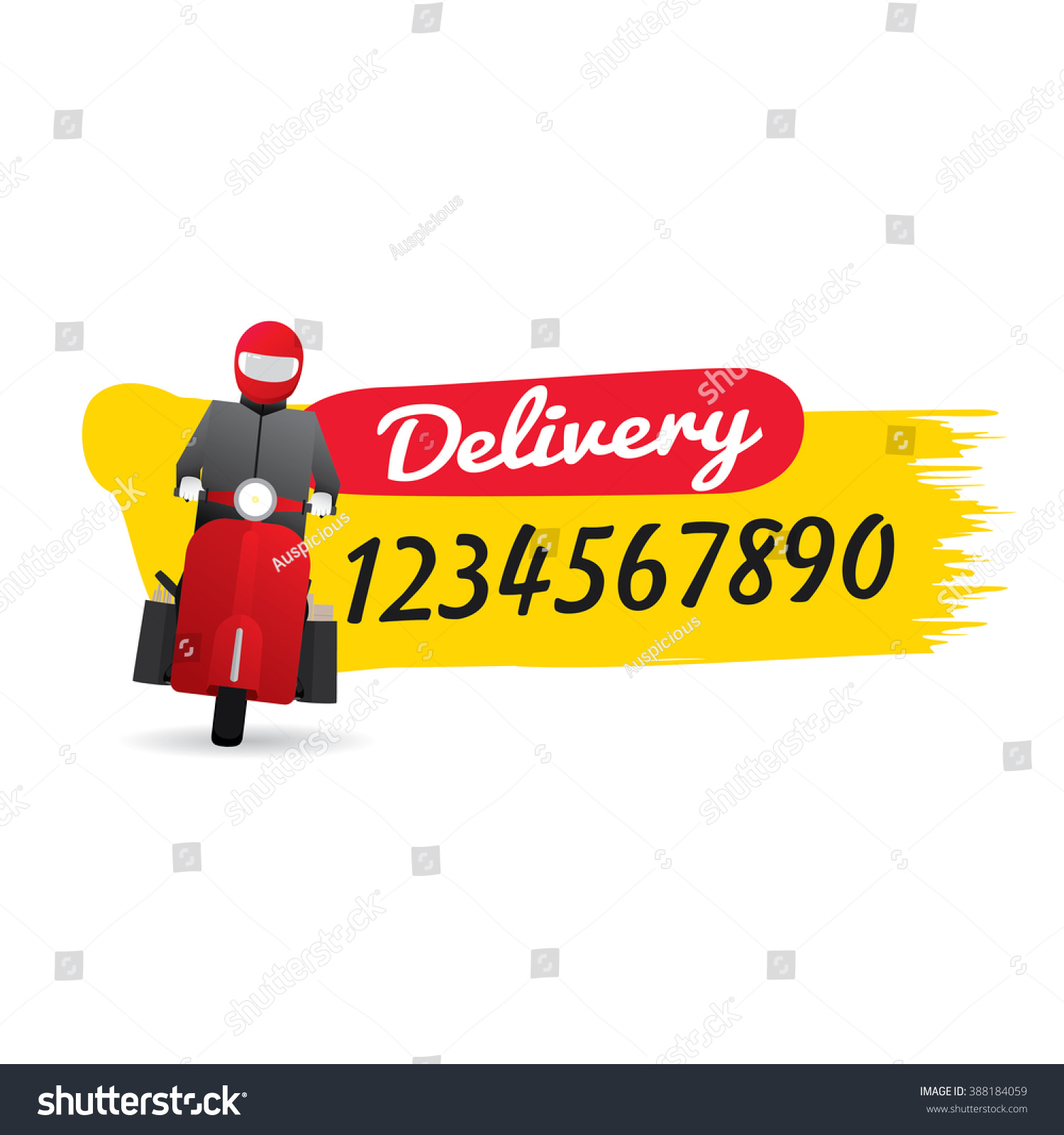 Delivery Man Courier Service Call Number Stock Vector
