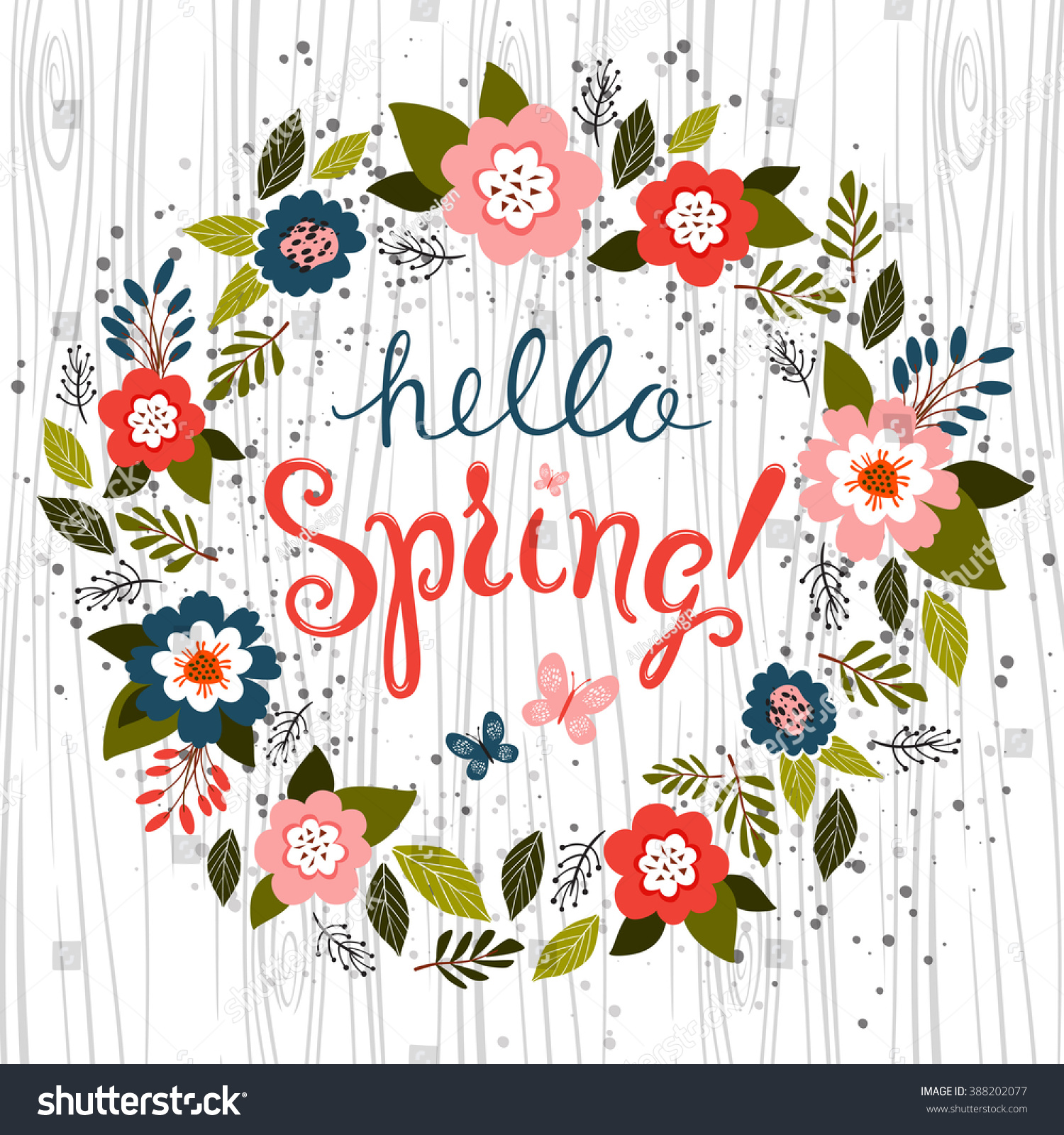 Hello spring greeting card Hand drawn illustration with wood background effect Flower wreath and lettering