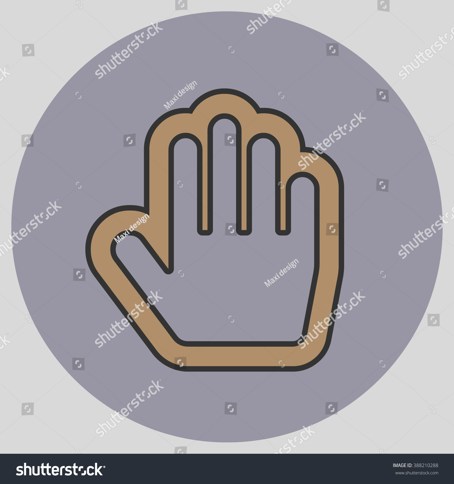 Flat Design Style Stop Hand Mouse Stock Vector Royalty Free