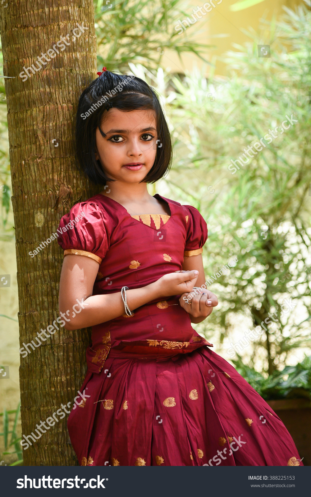 87633a0fb0 Young Indian girl wearing traditional dress for Onam, Vishu Kerala India .  Asian child. Beautiful daughter in traditional India sari.