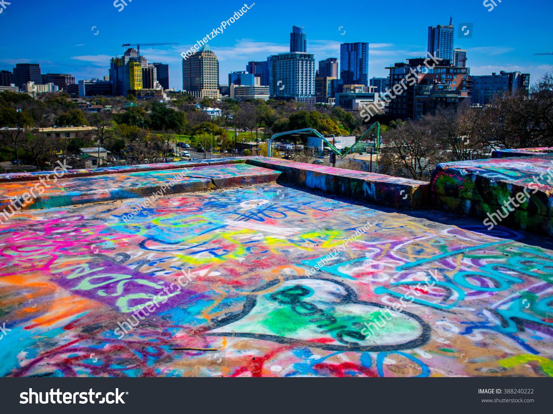 Austin texas skyline graffiti wall