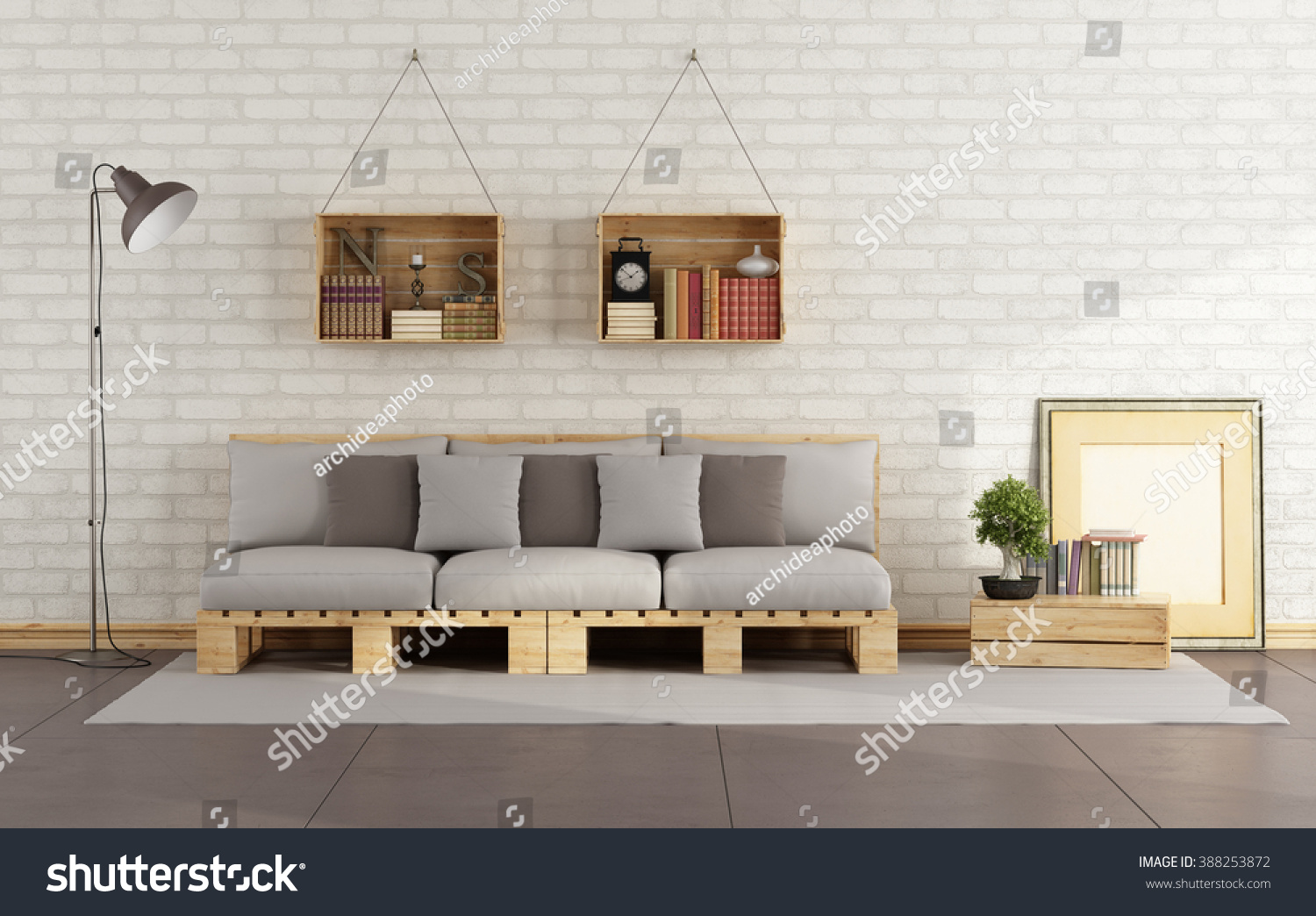 Living Room With Pallet Sofa And Wooden Crate With Books On Brick Wall   3D  Rendering