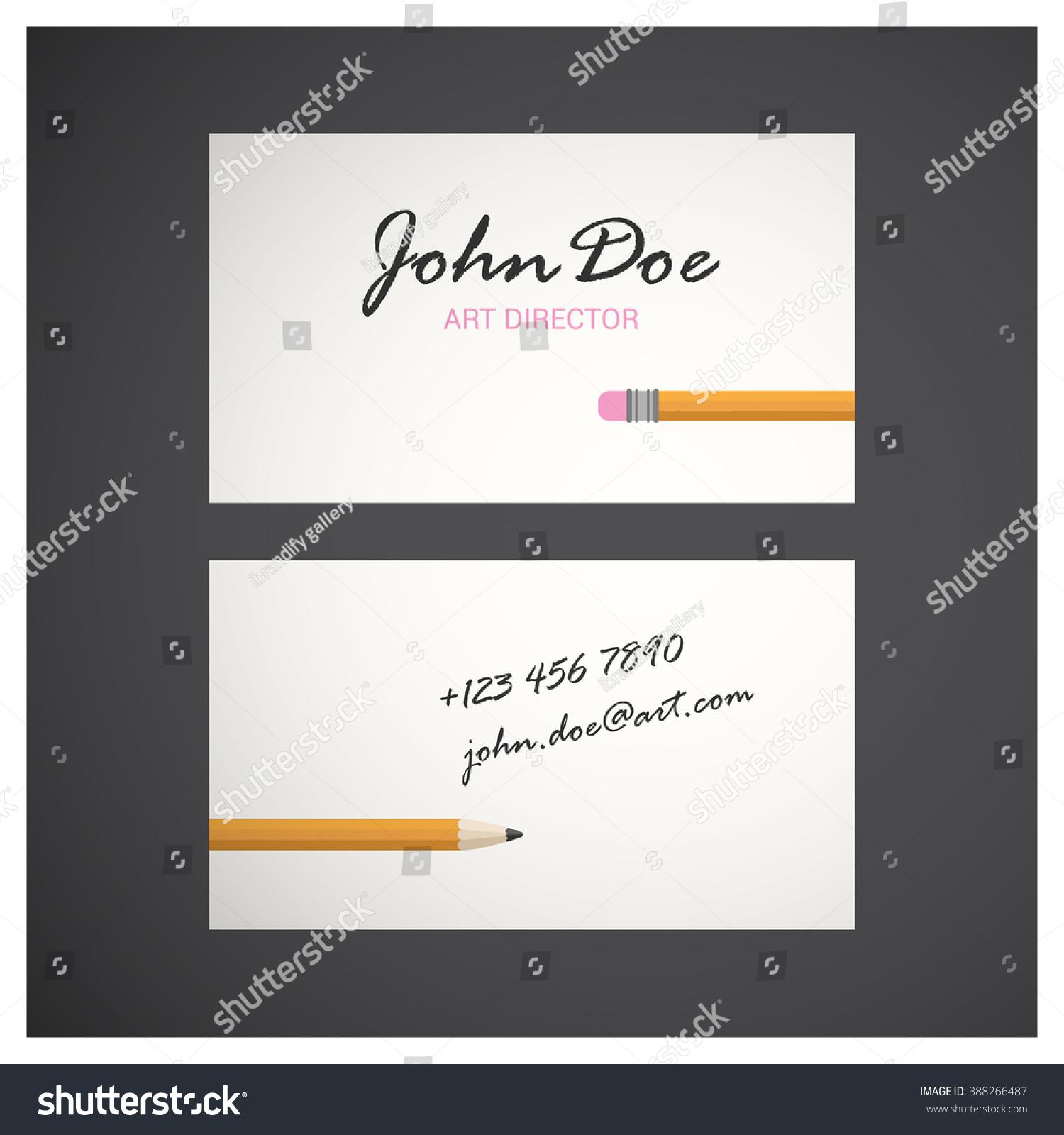 Art Director White Business Card Stock Vector 388266487 - Shutterstock