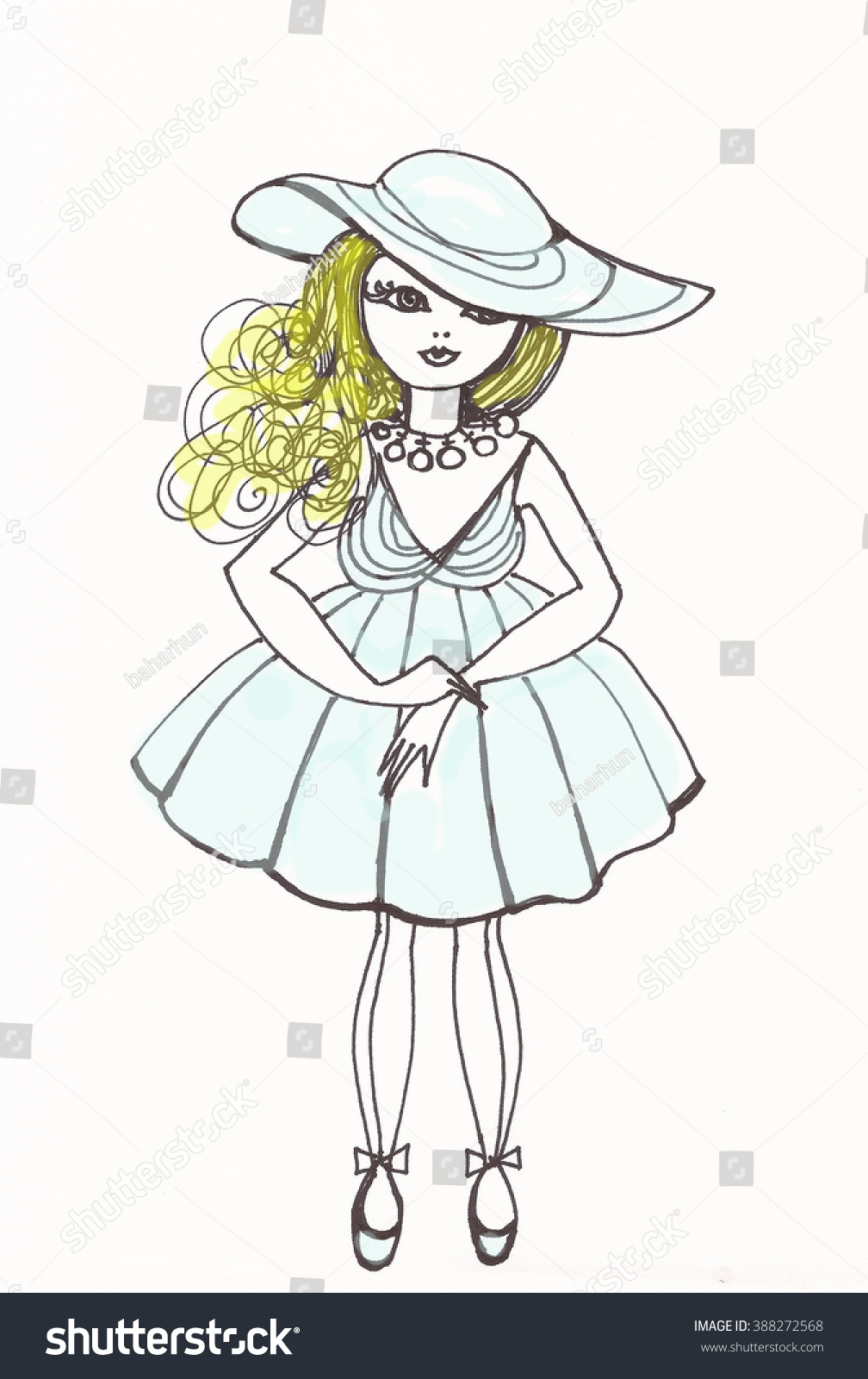 Fashion girl with pencil drawing blonde girl with blue dress and hat baby doll design