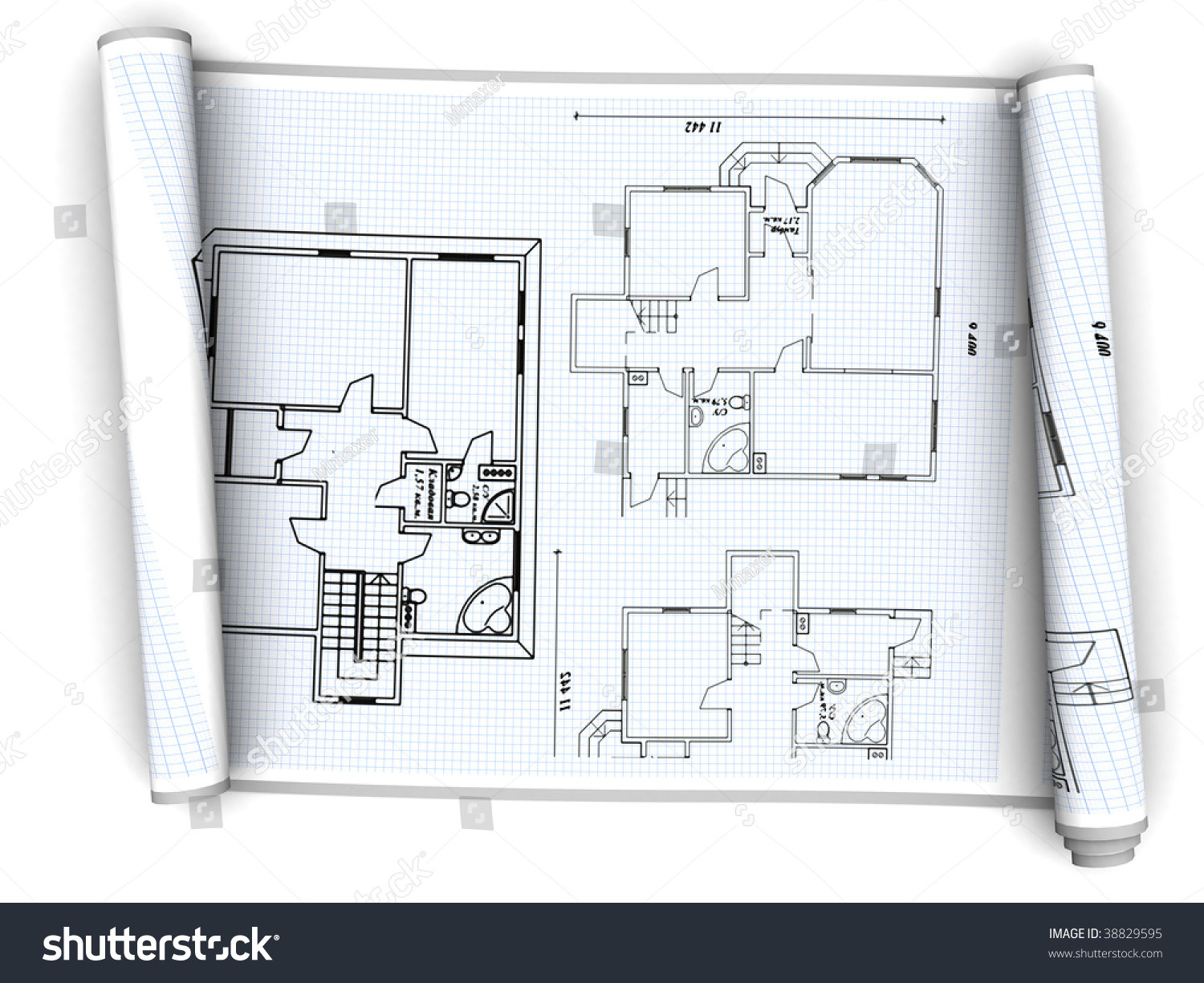 3d illustration of house plan paper scroll over white for Paper house planner