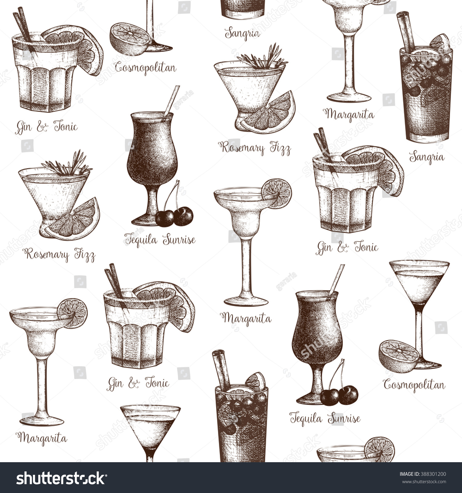 Vector seamless pattern with vintage alcoholic cocktails for Cocktail recipes with ingredients on hand