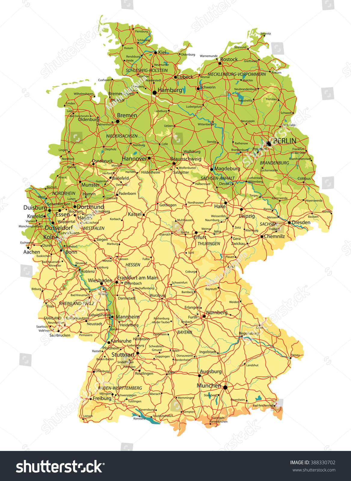 Germany Map Relief Cities Lakes Rivers Stock Vector Royalty Free