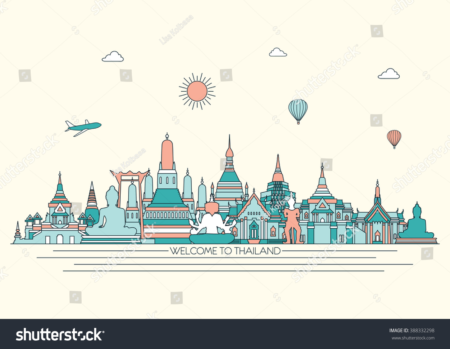 Thailand Detailed Skyline Travel And Tourism Background Vector Line Illustration
