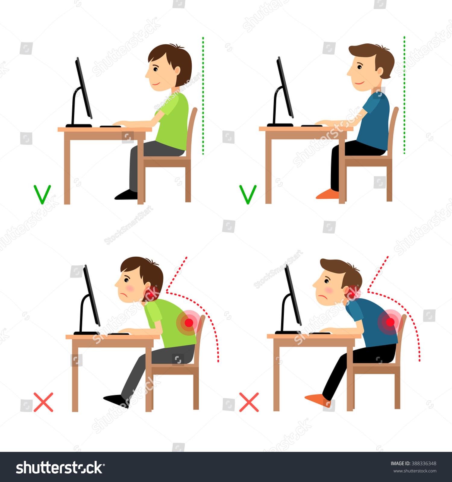Incorrect Correct Back Sitting Position Stock Illustration
