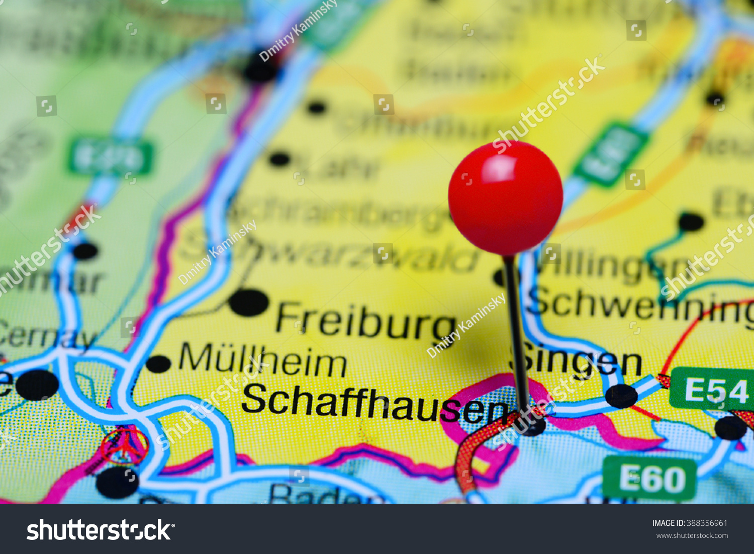 Schaffhausen Pinned On Map Switzerland Stock Photo Royalty Free