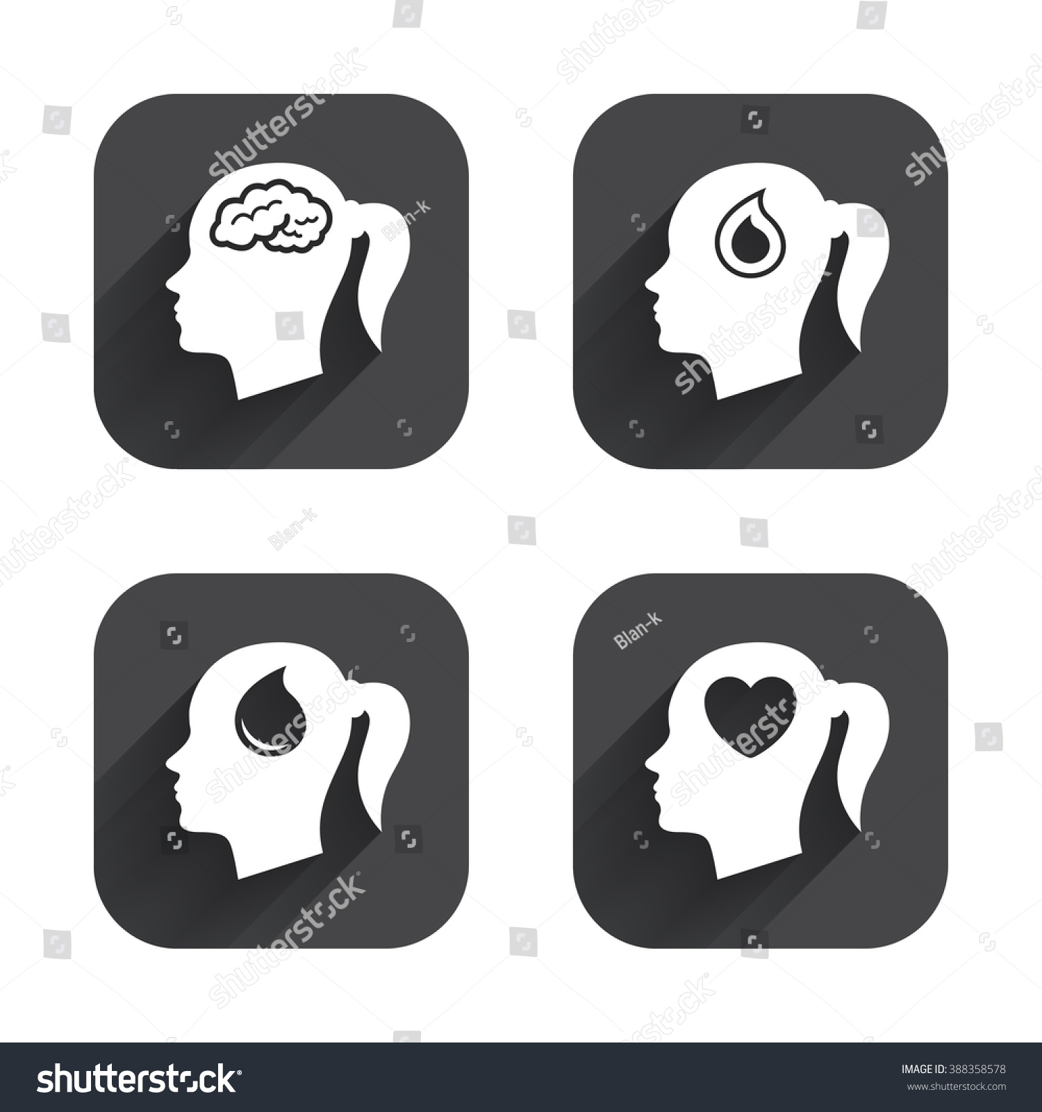Head brain icon female woman think stock illustration 388358578 female woman think symbols blood drop donation signs love biocorpaavc
