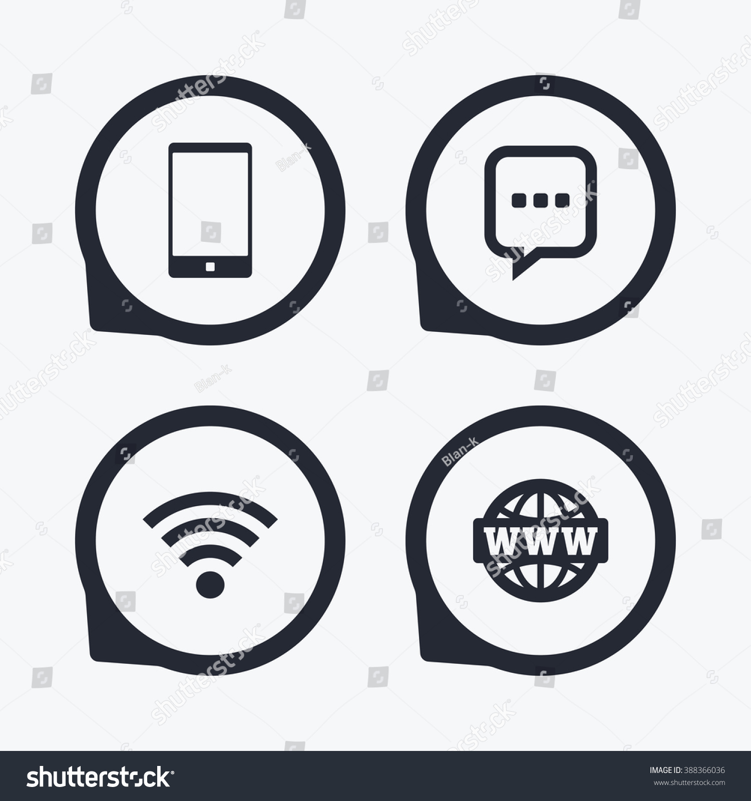 Communication Icons Smartphone Chat Speech Bubble Stock Illustration