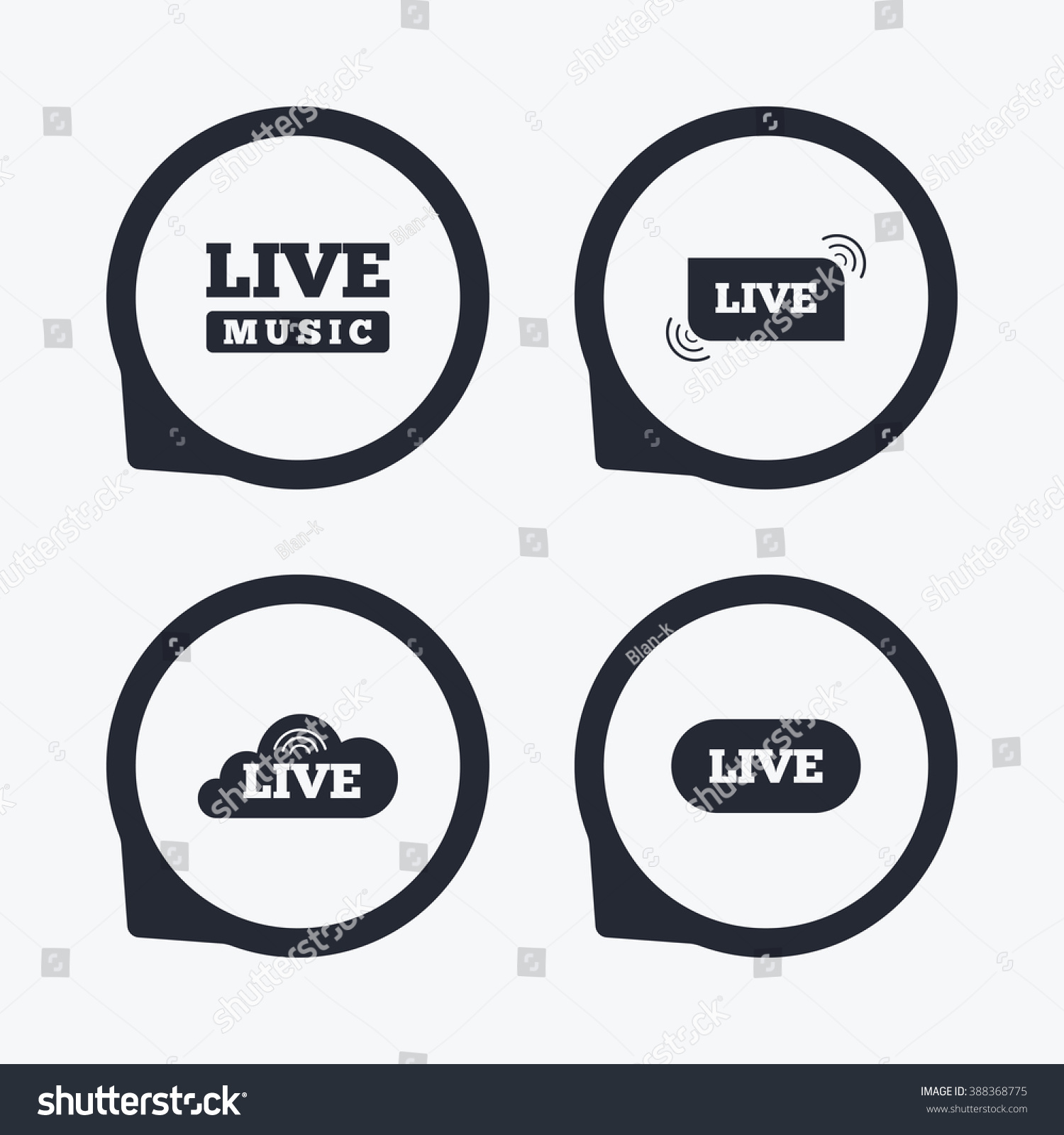Live Music Icons Karaoke On Air Stock Illustration 388368775