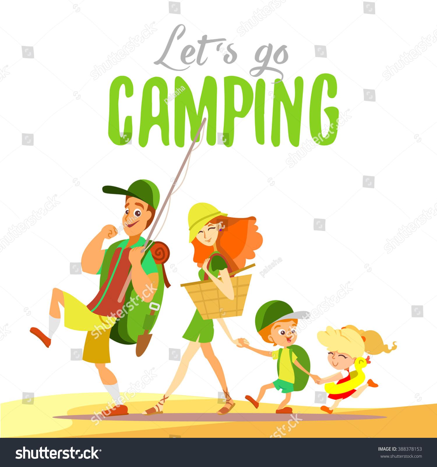 Family camping cartoon