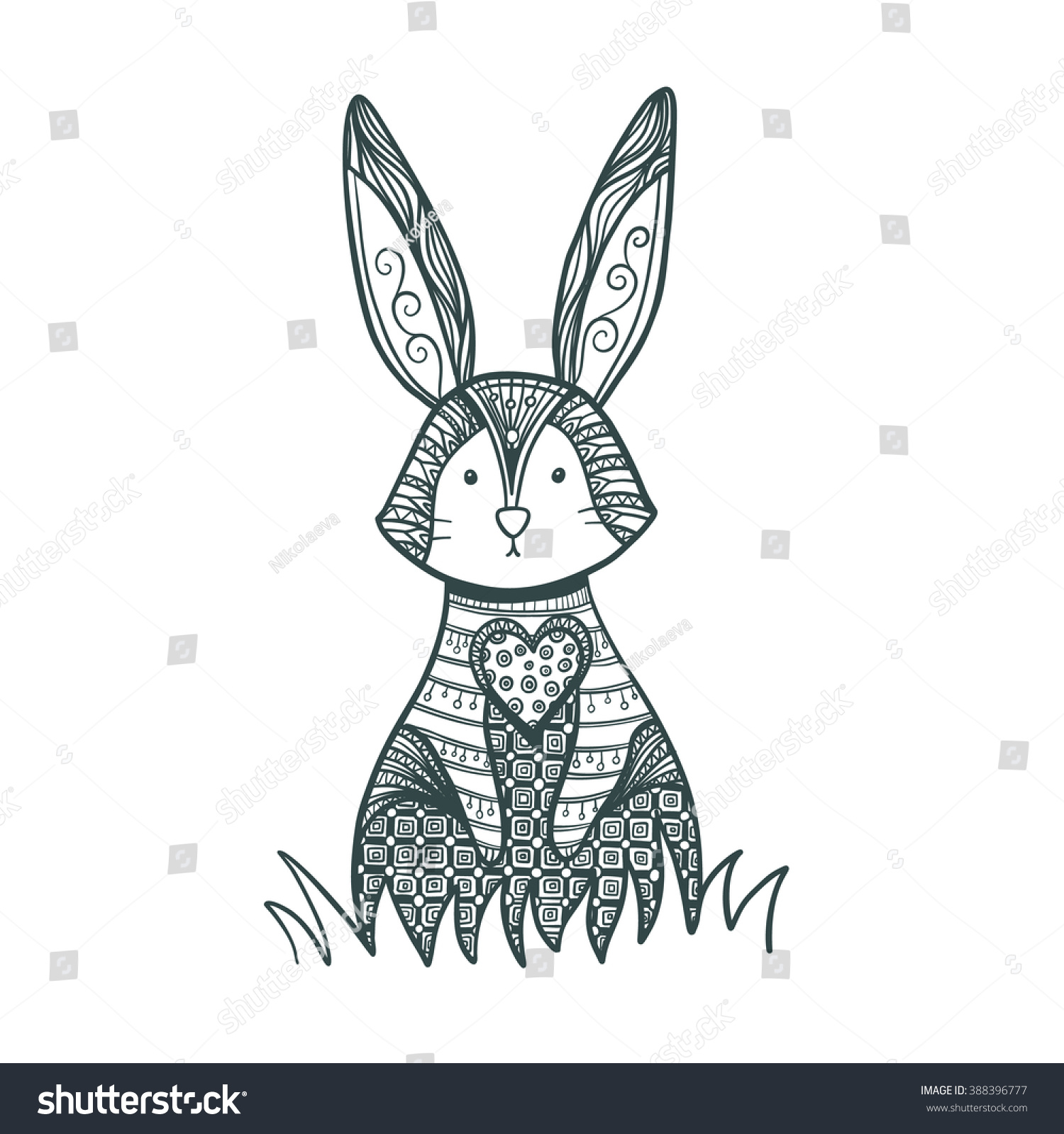 drawing zentangle rabbit coloring page decorative stock vector