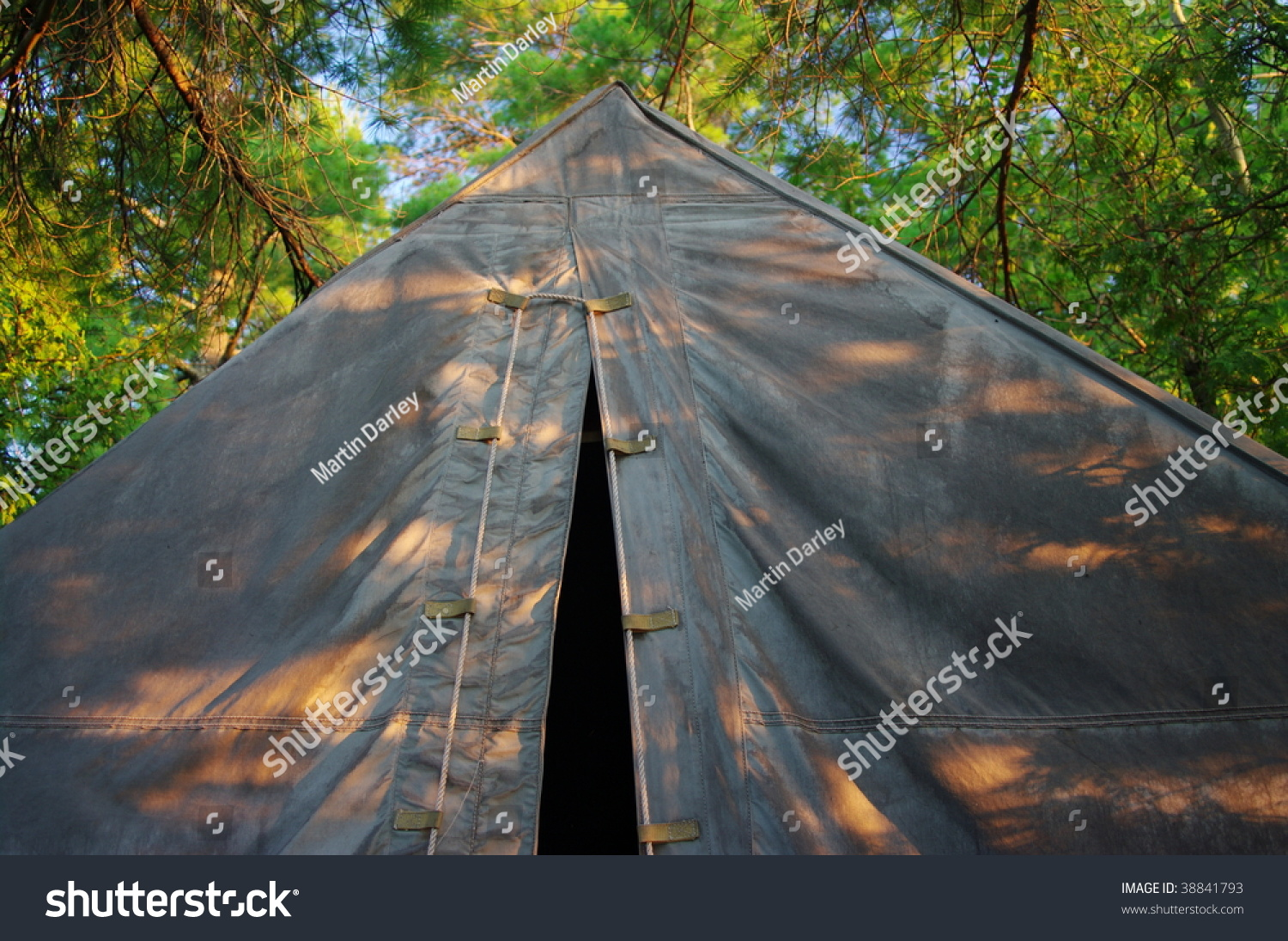 An old canvas tent in the shade of the forest canopy & Old Canvas Tent Shade Forest Canopy Stock Photo (Edit Now) 38841793 ...