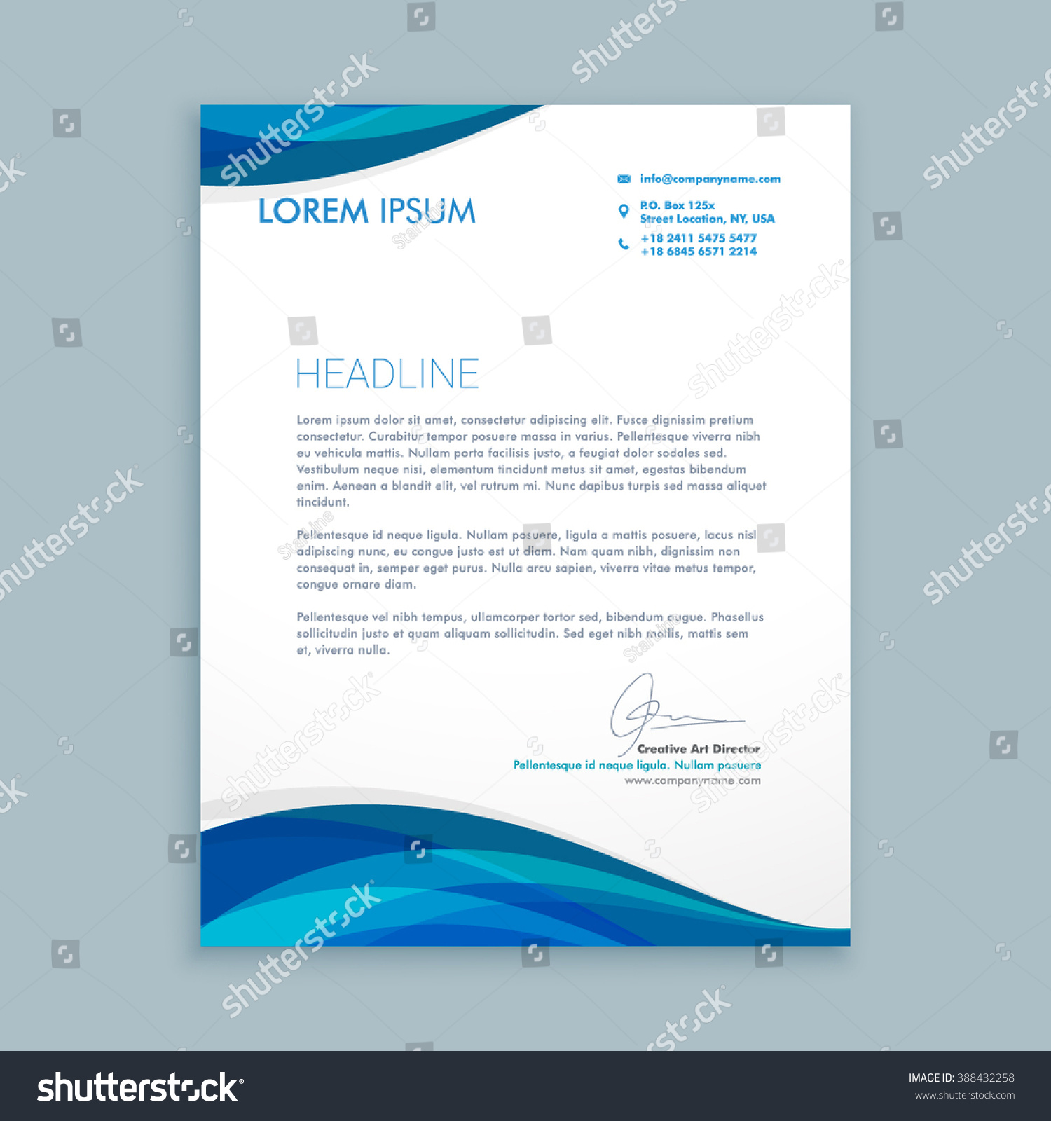 Executive Stationery Letterhead Business Letterhead 8370: Business Style Corporate Letterhead Stock Vector 388432258