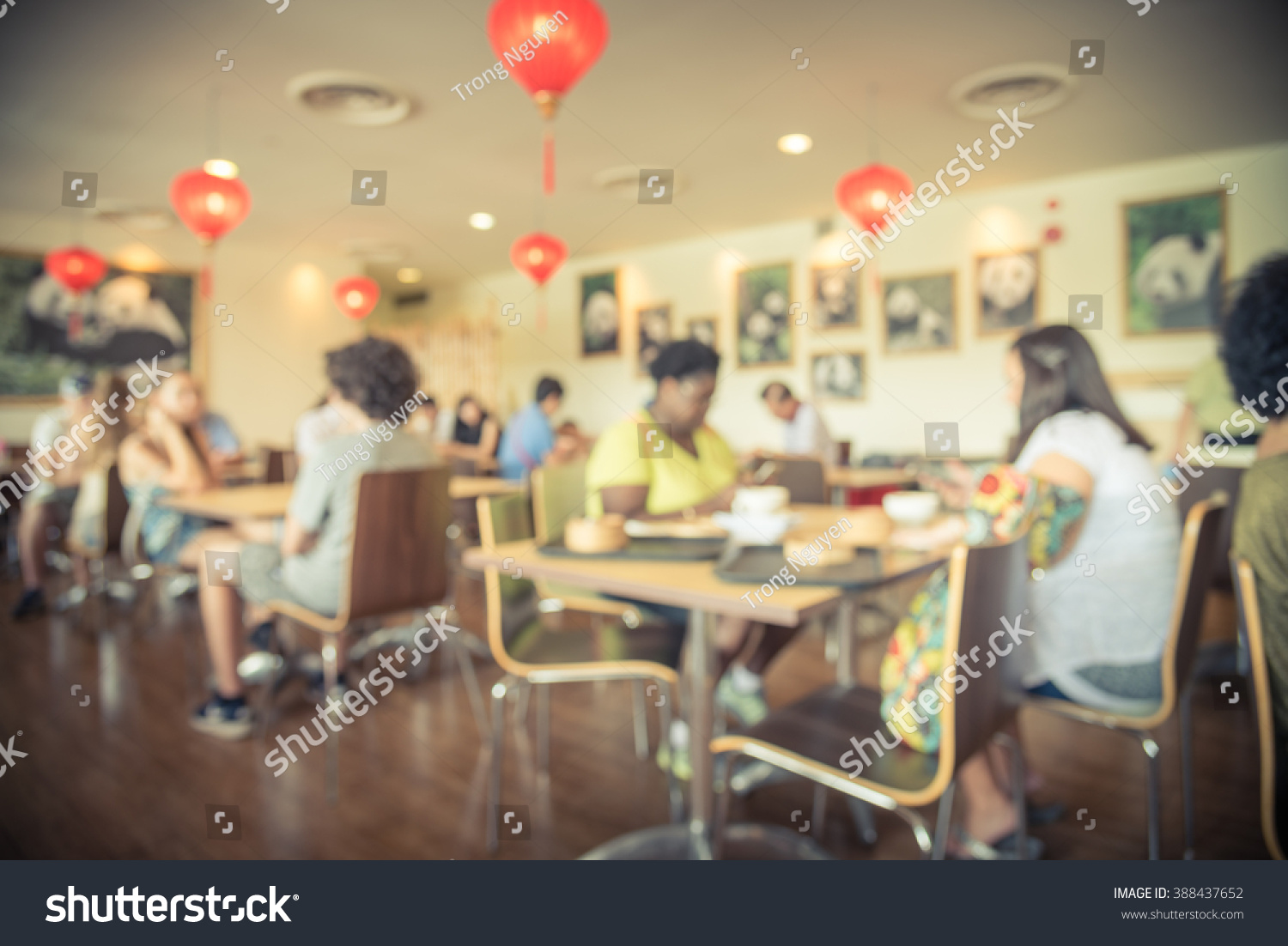 Blurred Abstract Background Chinese Cafe Restaurant Stock Photo