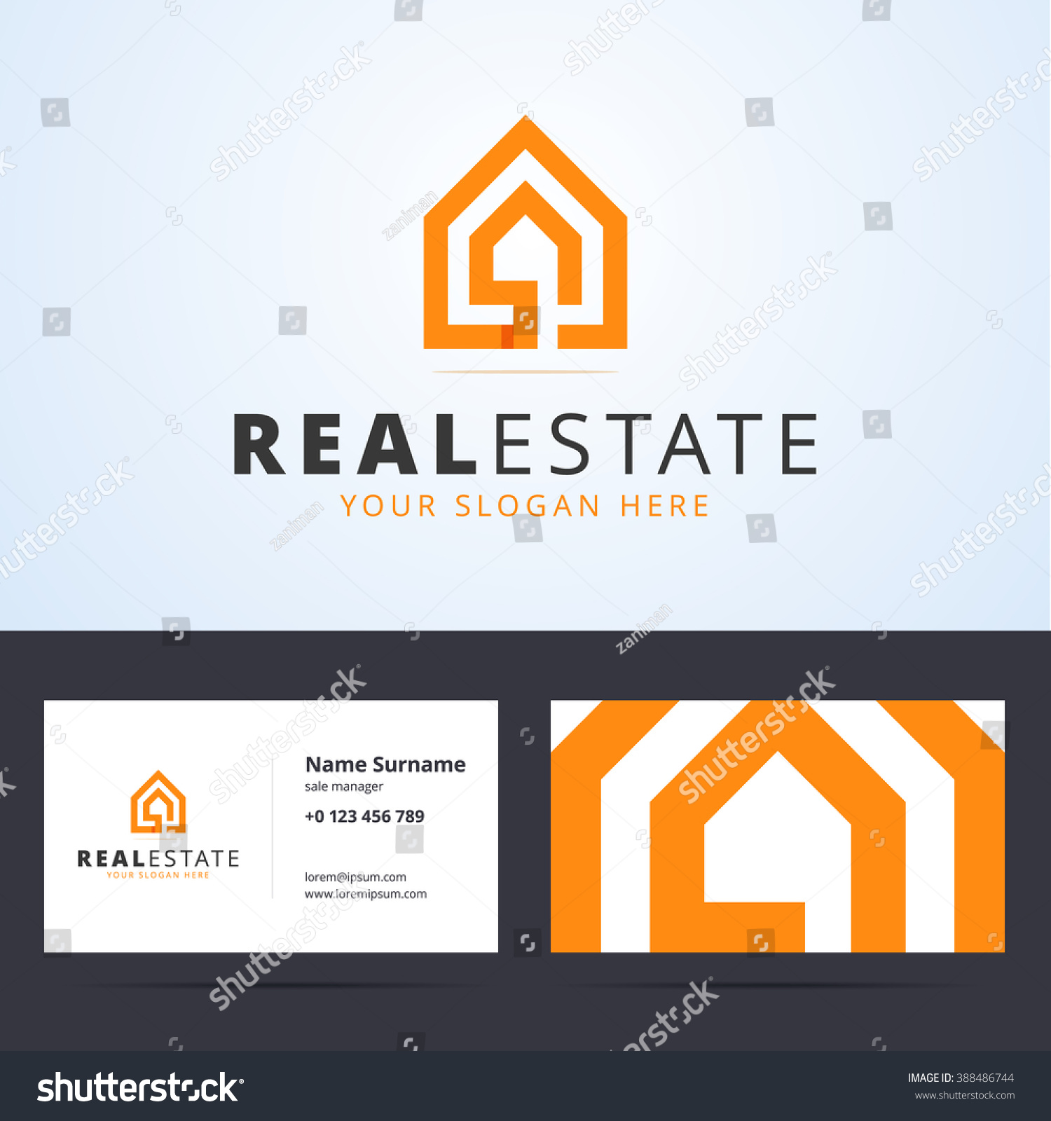 real estate logo business card template stock vector