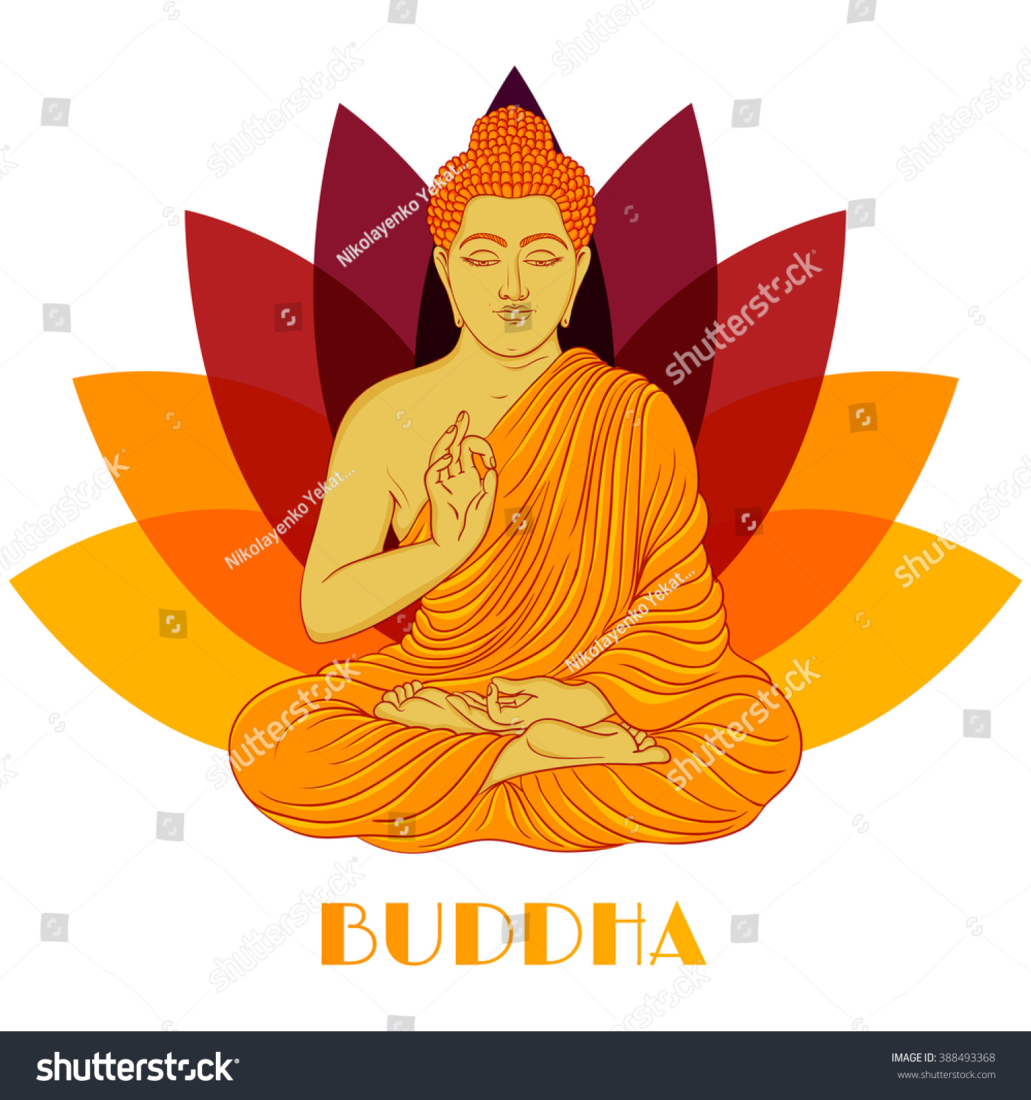 Sitting buddha over lotus flower background stock vector royalty sitting buddha over lotus flower background hand drawn vector illustration izmirmasajfo