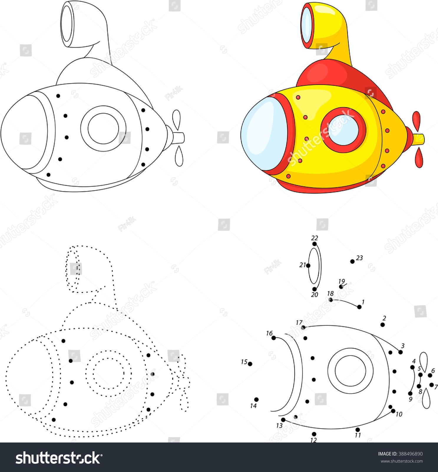 cartoon submarine dot dot educational game stock vector 388496890