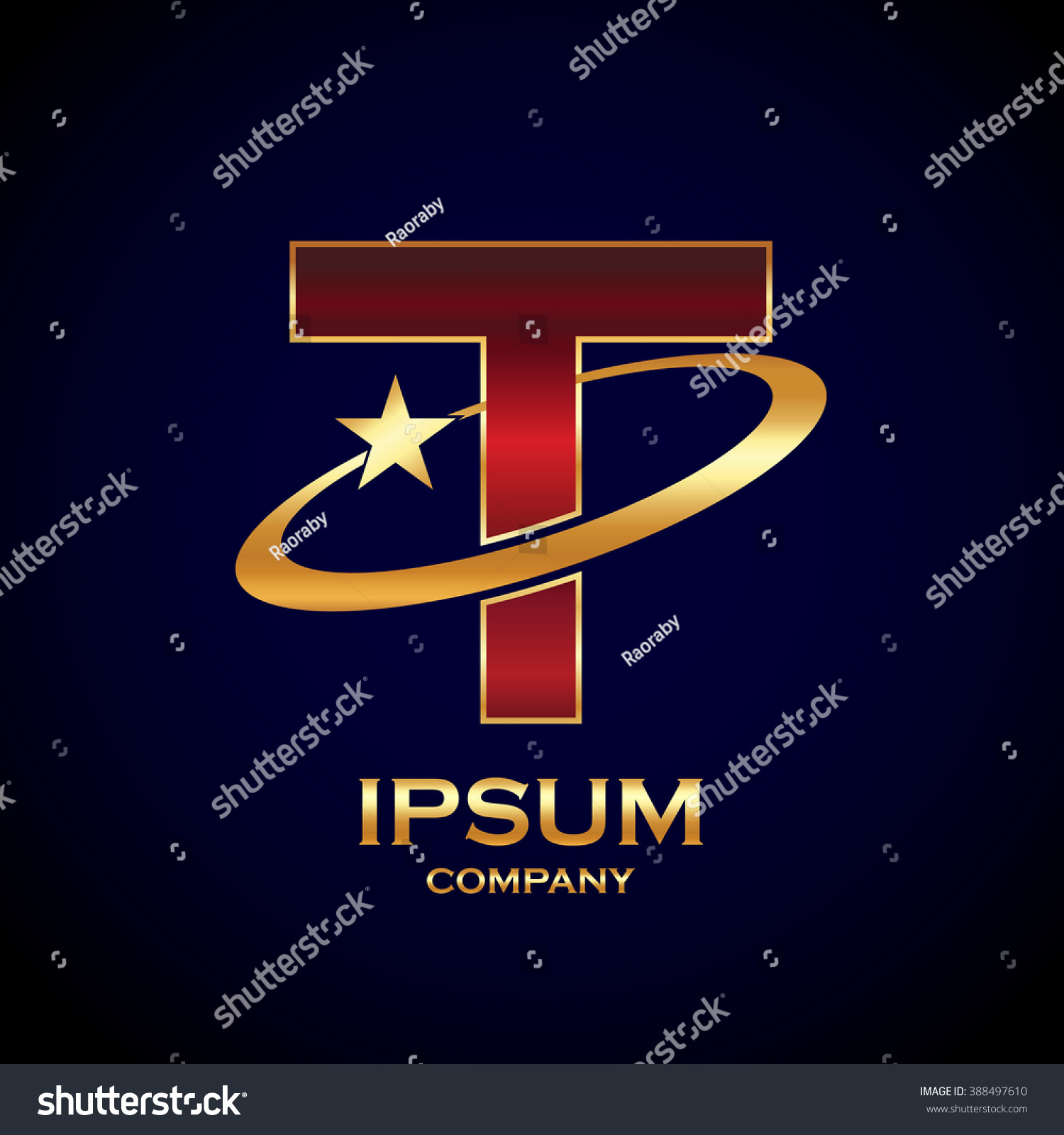 Abstract Letter T Logo Star Symbol Stock Vector Royalty Free