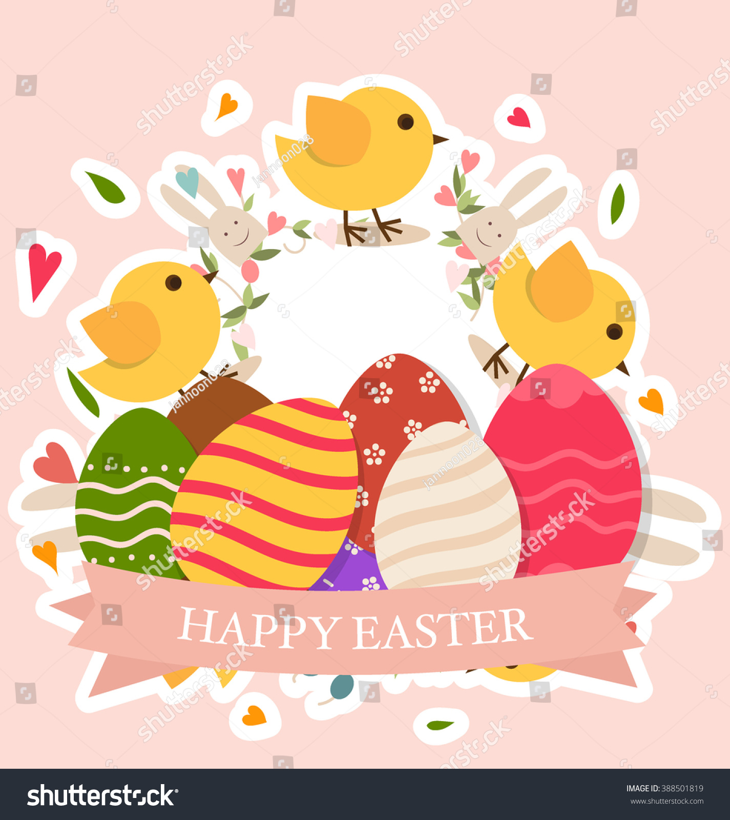 Happy Easter Cards Easter Bunnies Easter Stock Vector Royalty Free