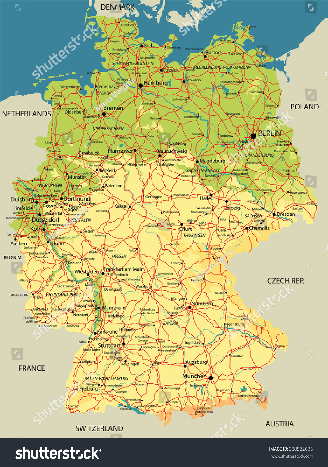 Political Map Germany Relief Cities Lakes Stock Vector - Germany map krefeld