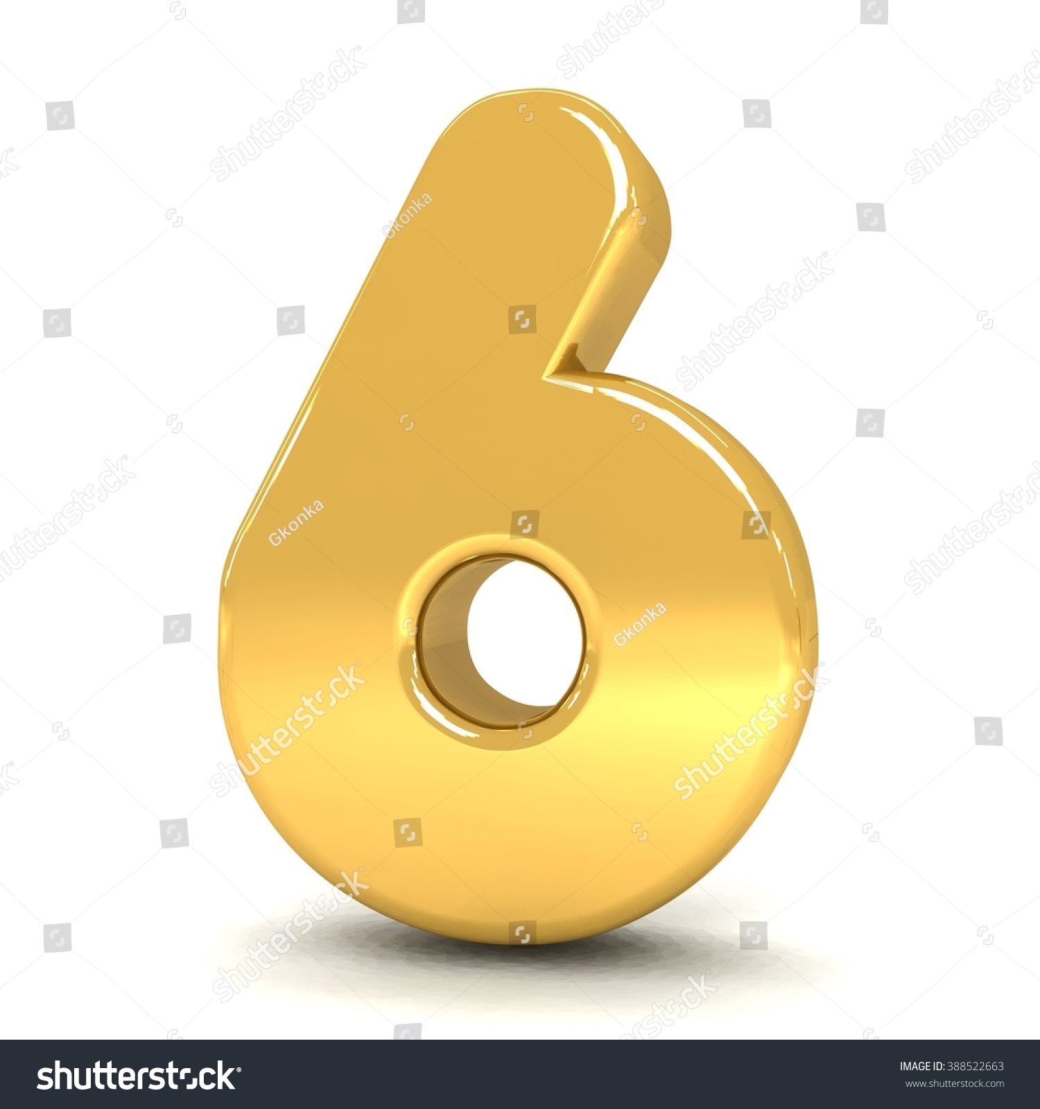 3d cute gold metal number 6 six with cartoon comic and business numbers isolated white background