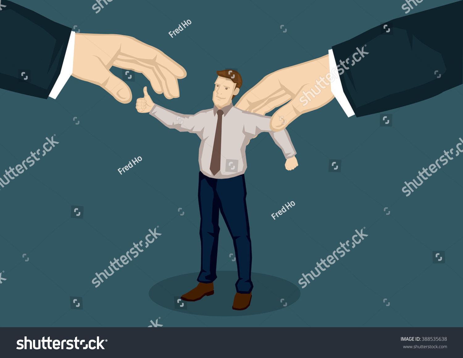 cartoon man thumbs gesture representing good stock vector cartoon man thumbs up gesture representing good worker and two giant hands from the side