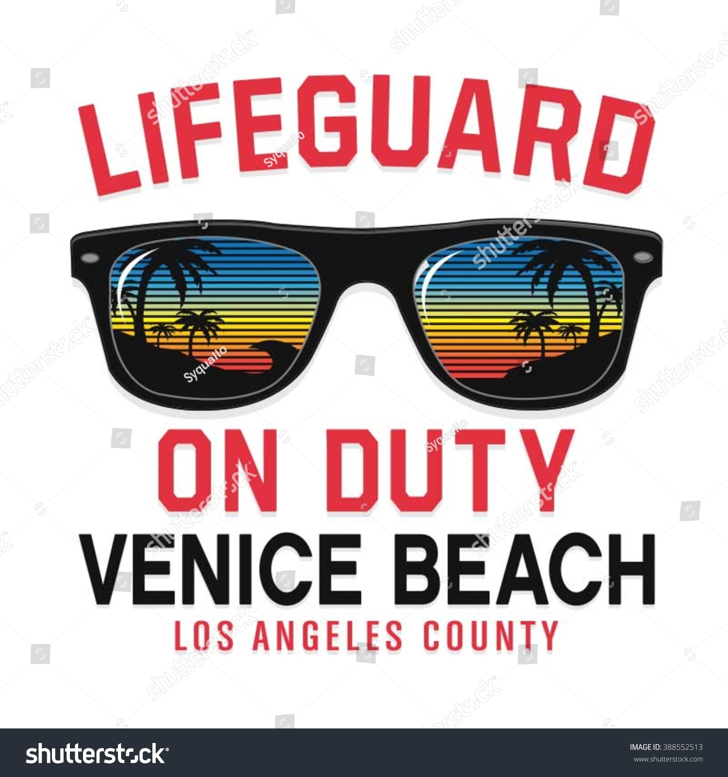 Sunglasses lifeguard beach typography t-shirt graphics vectors