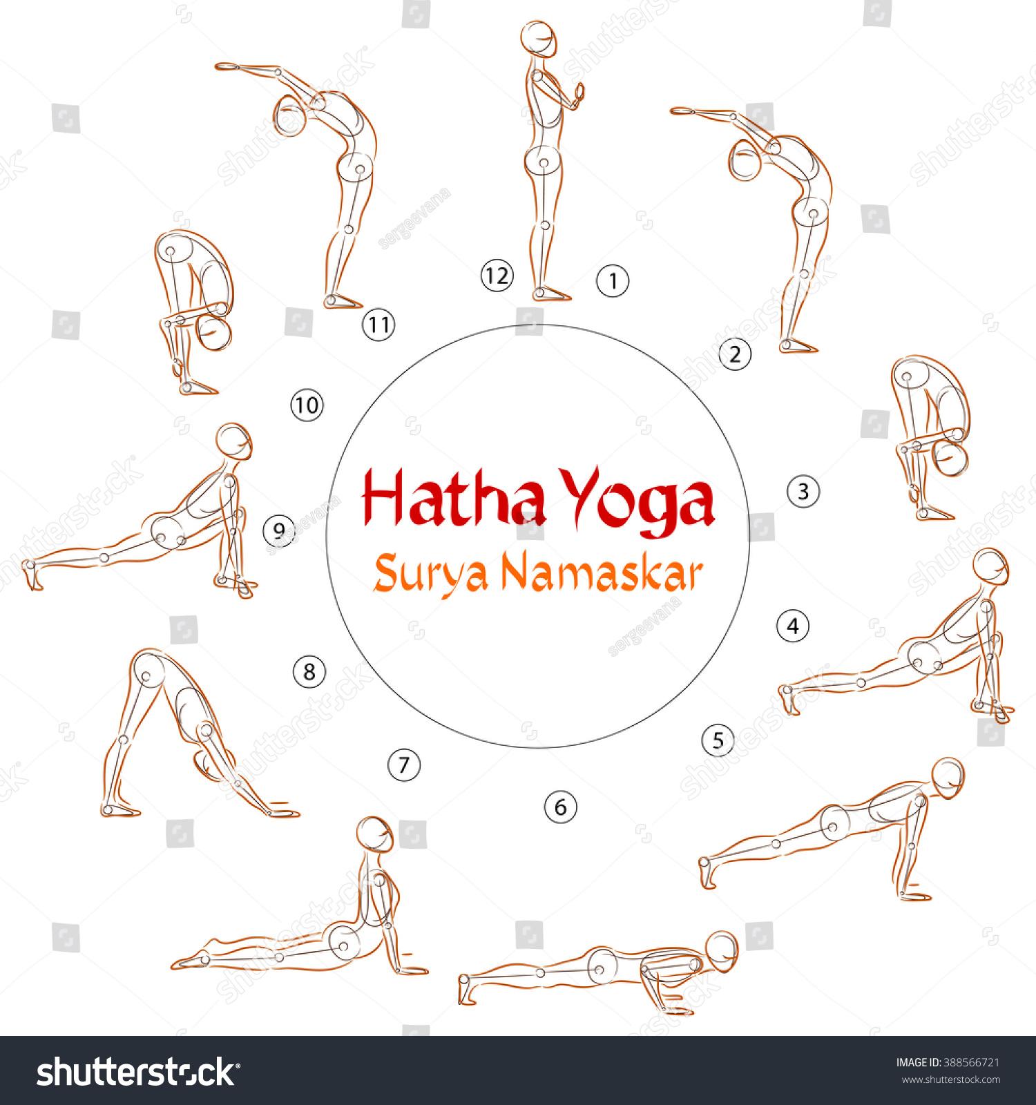 Hatha Yoga Surya Namaskar Asanas Stock Vector 388566721 - Shutterstock
