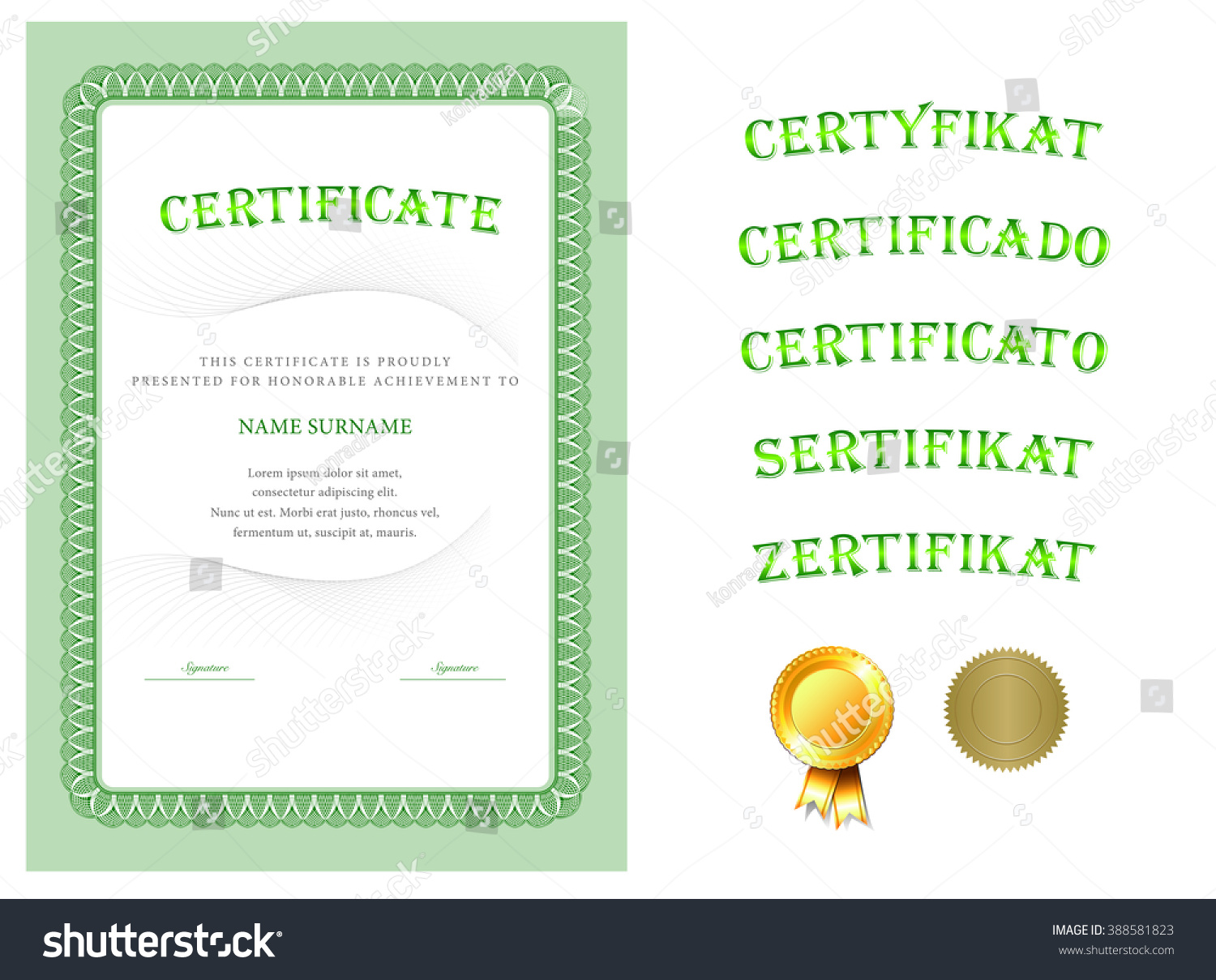 Certificate Diploma Completion Vector Design Template Stock Vector ...