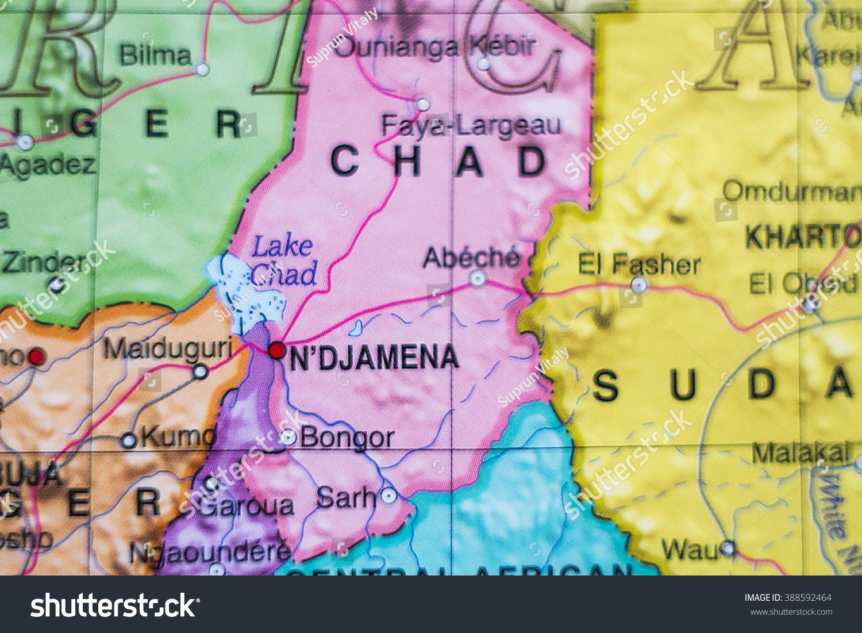 Photo Map Chad Capital Ndjamena Stock Photo