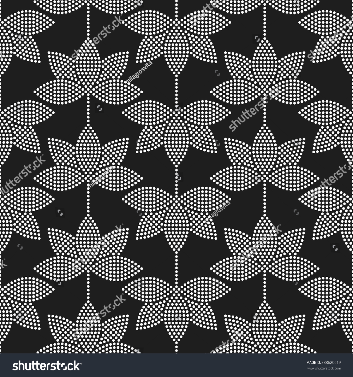 Yoga pattern background seamless pattern with five petals lotus flower - Seamless Tiled Black And White Mosaic Background Of Lotus Flower In Garlands Dotted Pattern