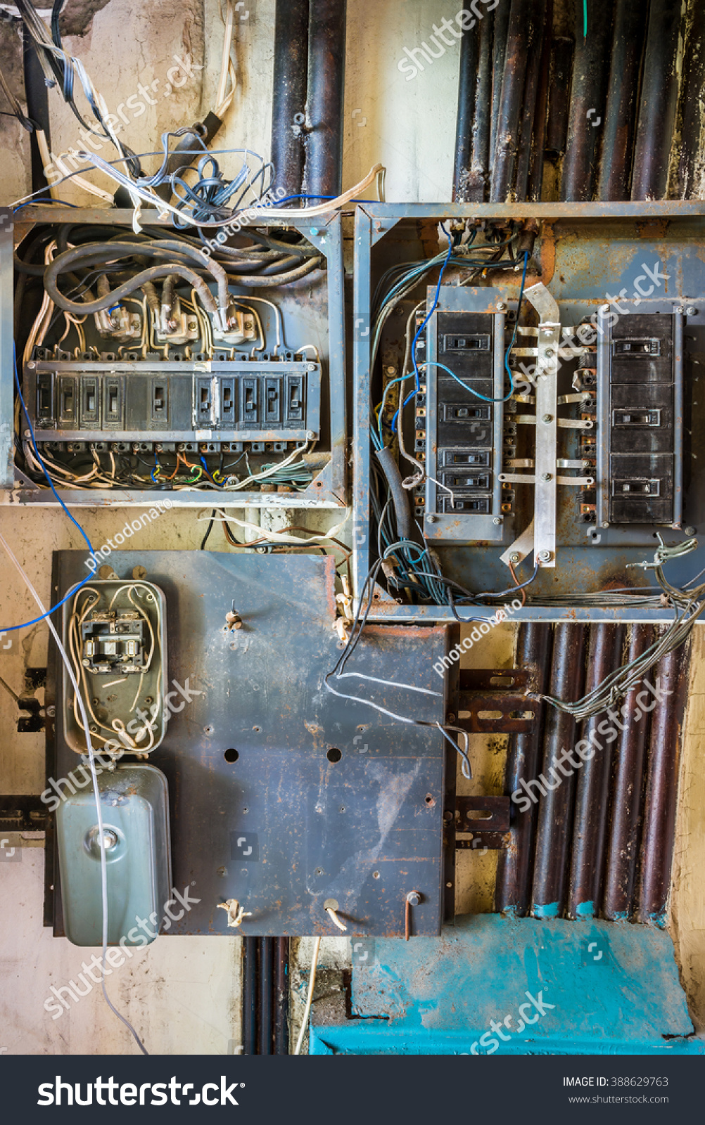 Old Electrical Metal Box With Plastic Switches Wires And Other Wiring Of Iron Id 388629763