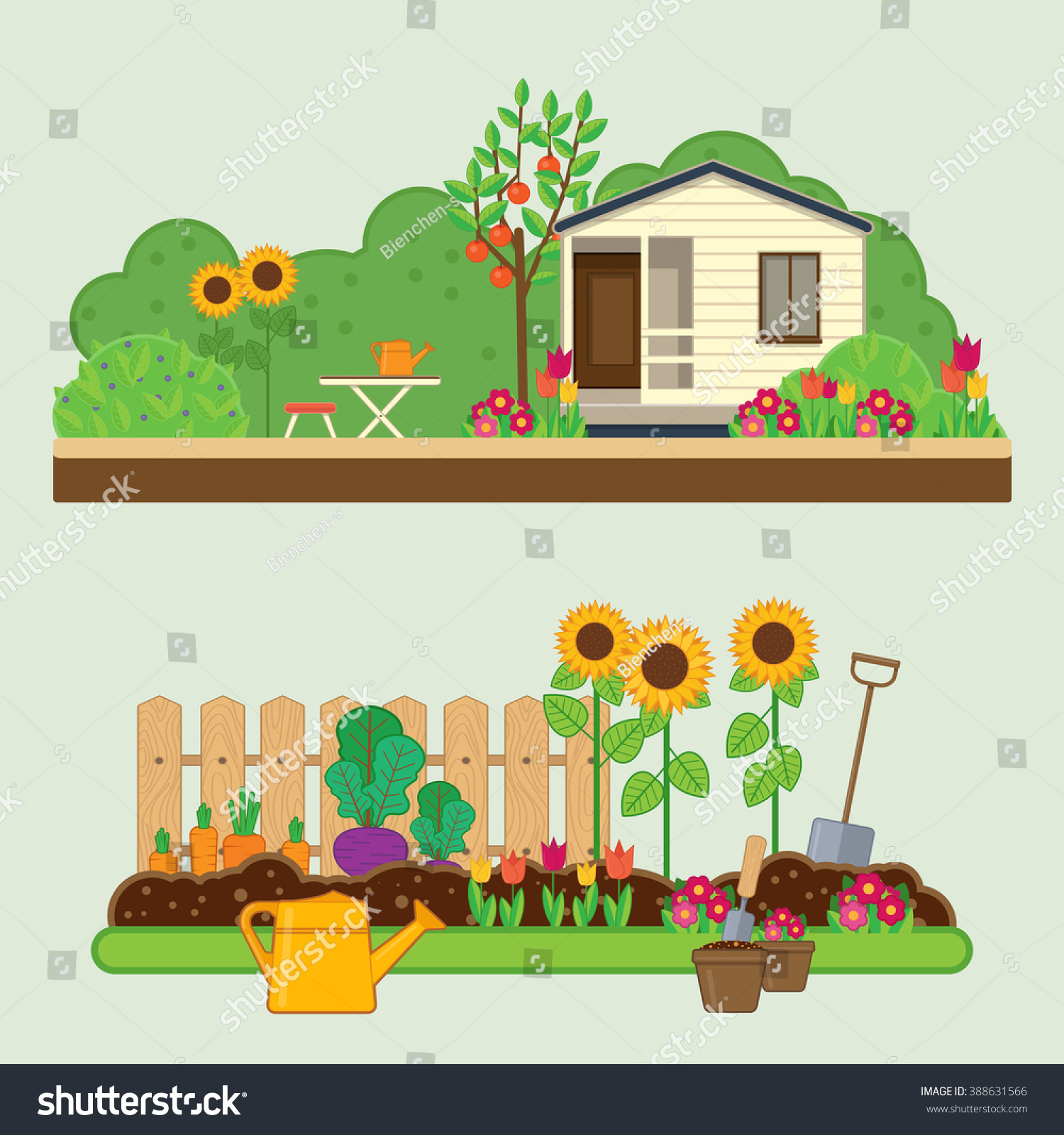 Vector Illustrations With Rural Landscape, Flowers, Garden, Cottage And  Garden