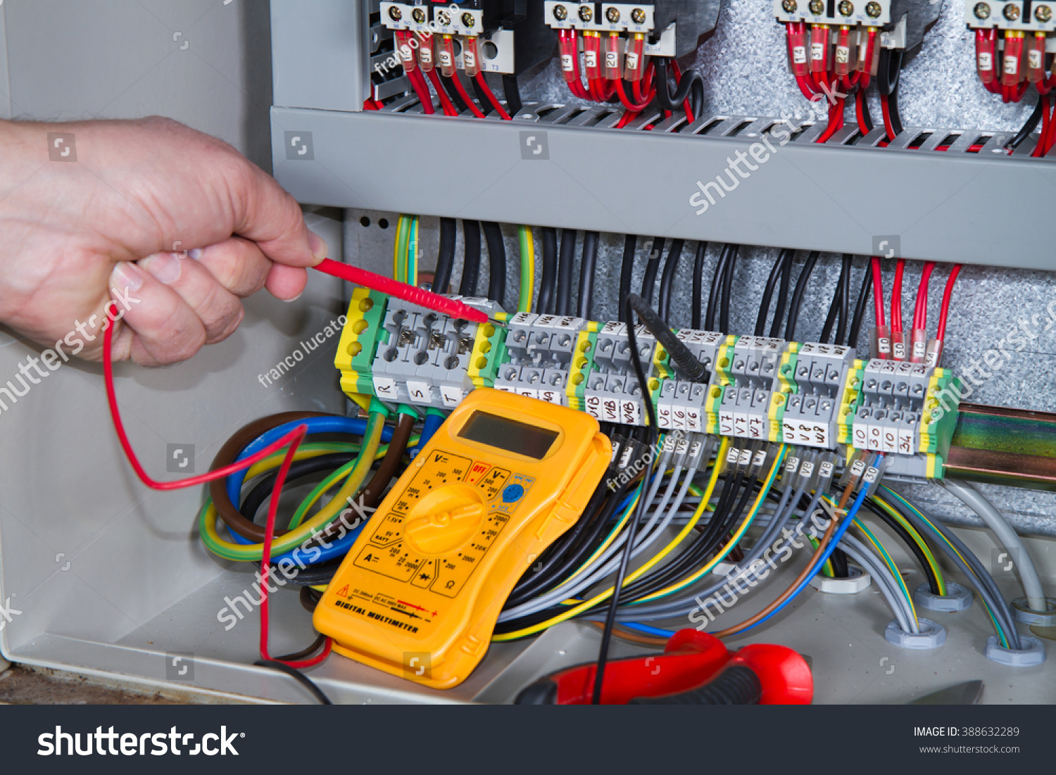 Electrician Work Electric Panel Stock Photo Edit Now 388632289 Circuit Wiring At With An