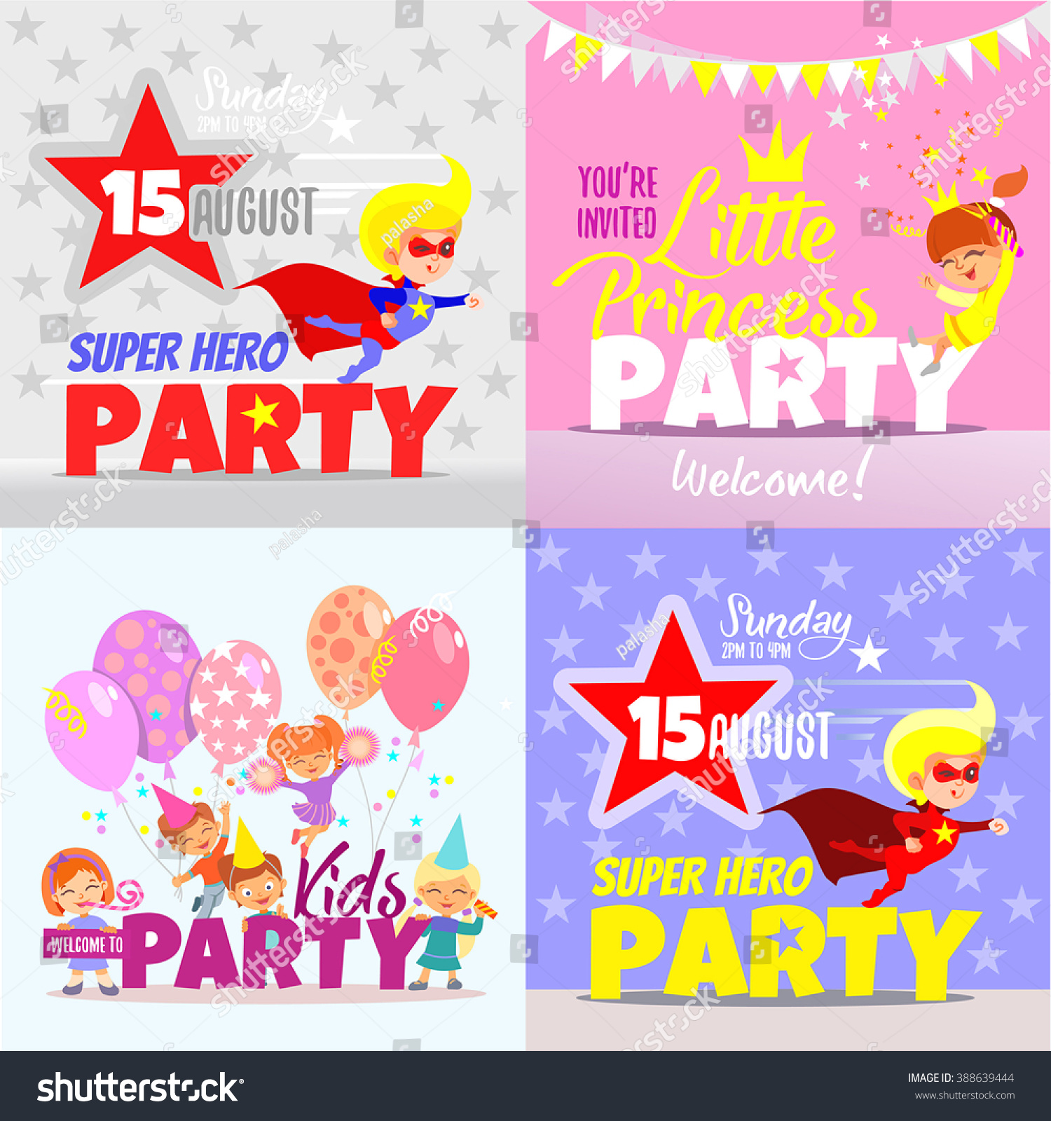 Set Kids Party Invitation Design Concepts Stock Vector 388639444 ...