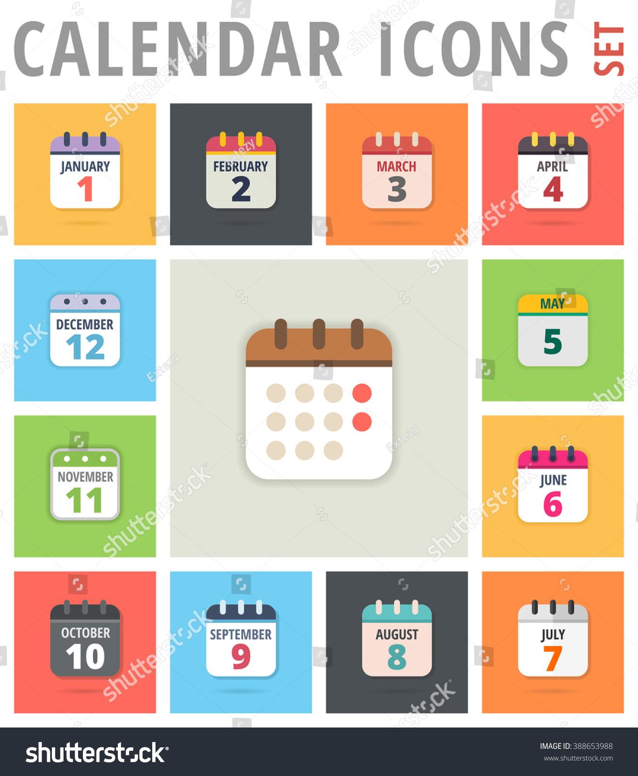 Calendar Logo : Calendar icon set vector emblem picture stock