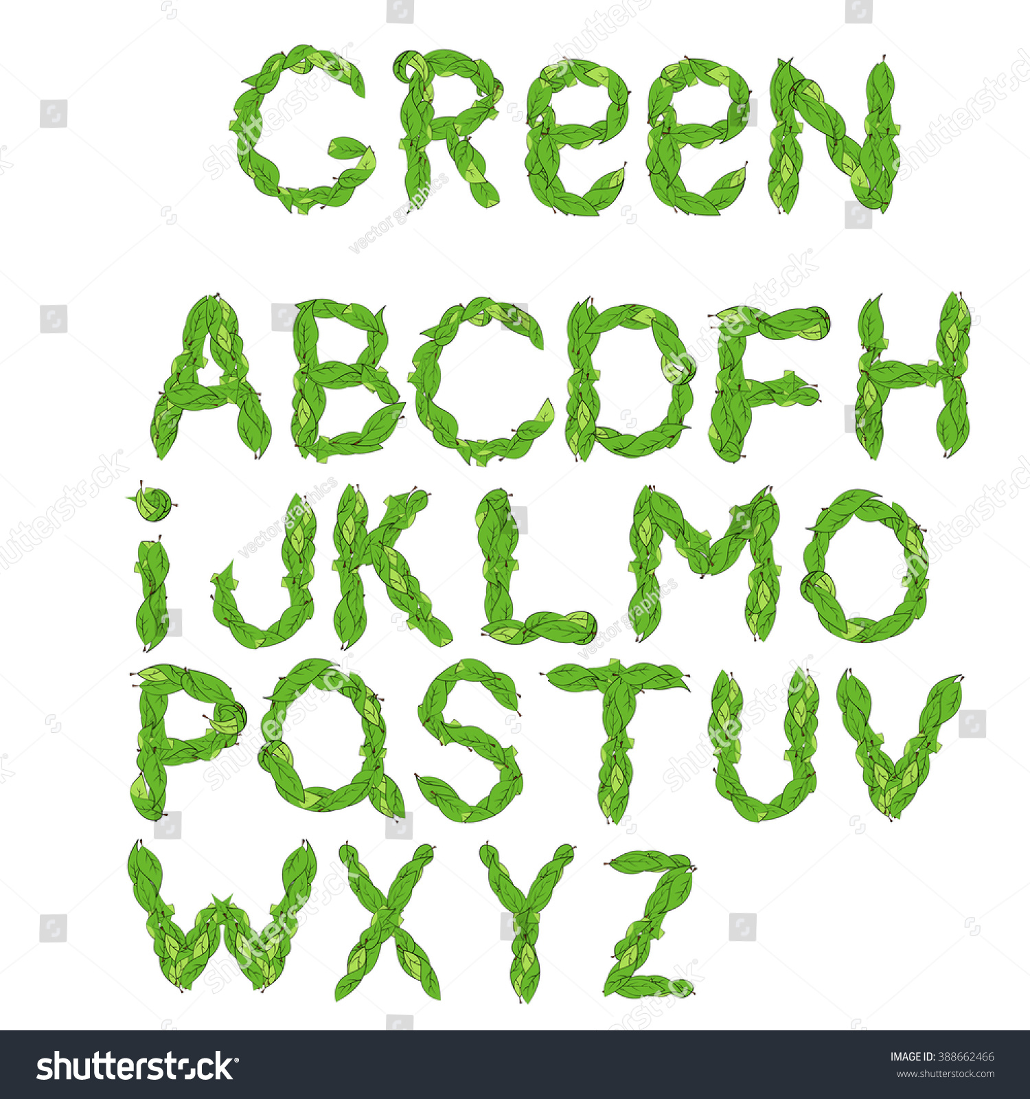 Alphabet leaves green leaves font vector stock vector 388662466 alphabet from leaves green leaves font vector illustration ecology english alphabet letters with biocorpaavc Gallery