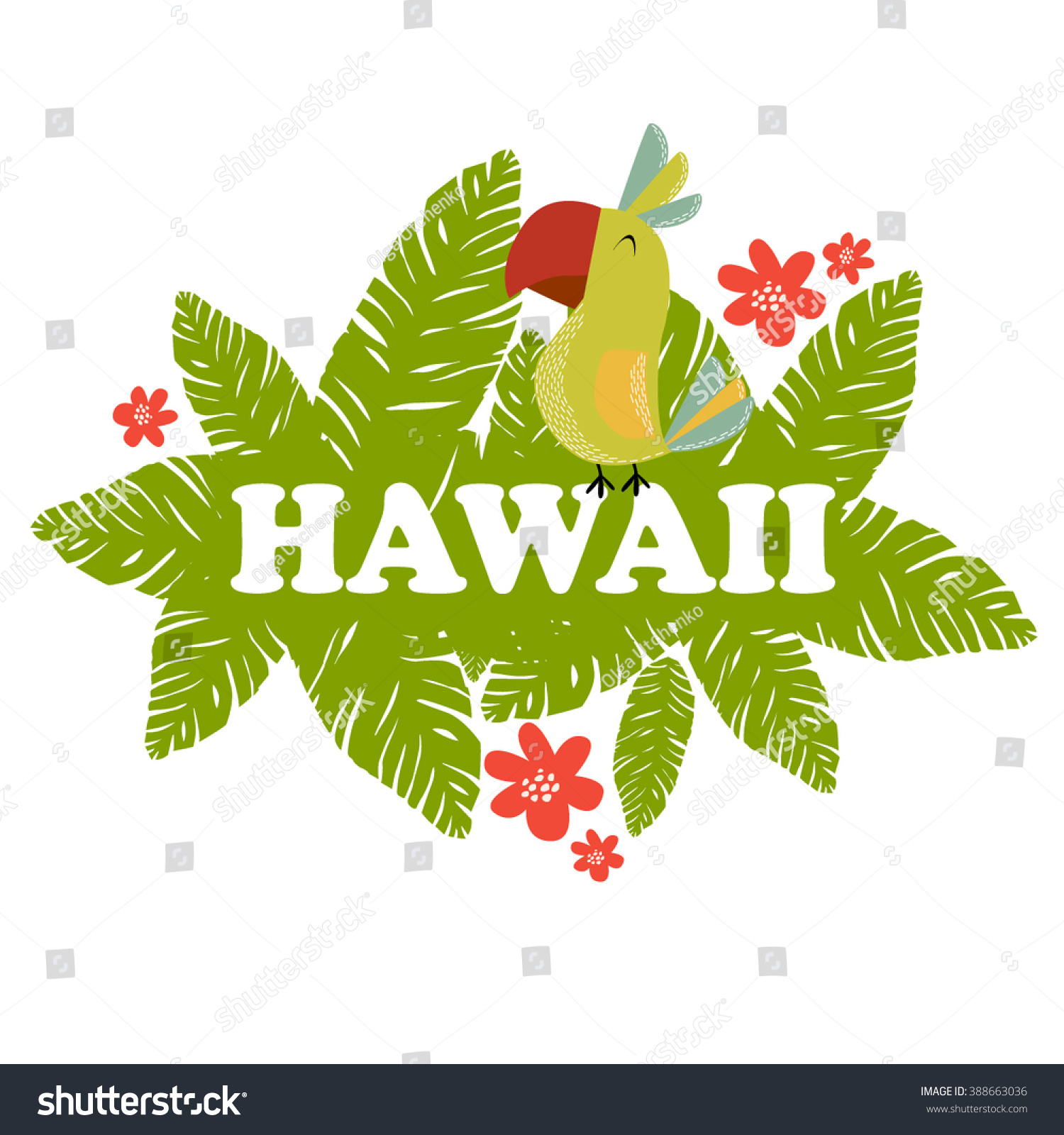 Vector Illustration Bright Hawaii Colored Parrot Stock Vector HD ...