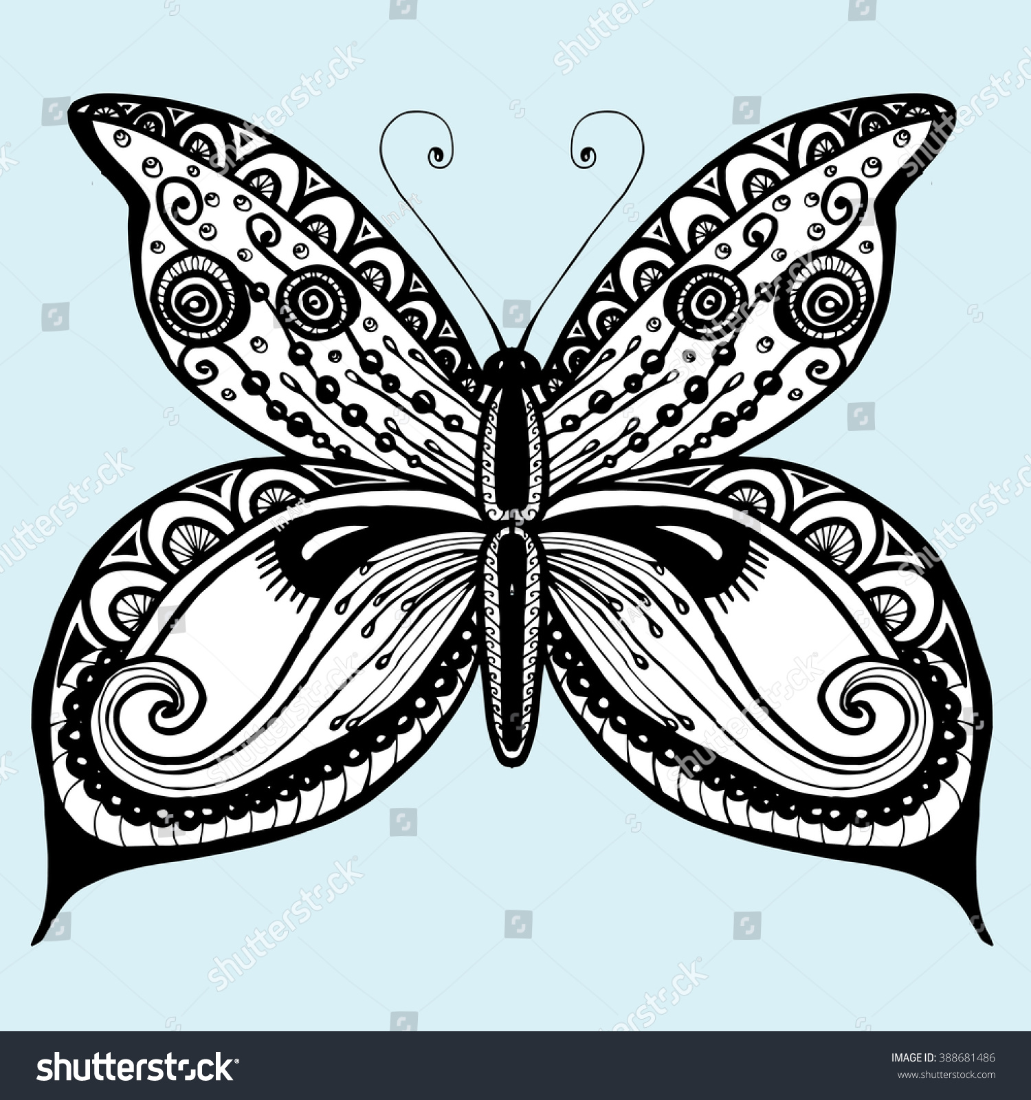 Butterfly Butterfly On Flower Line Art Stock Vector Royalty Free