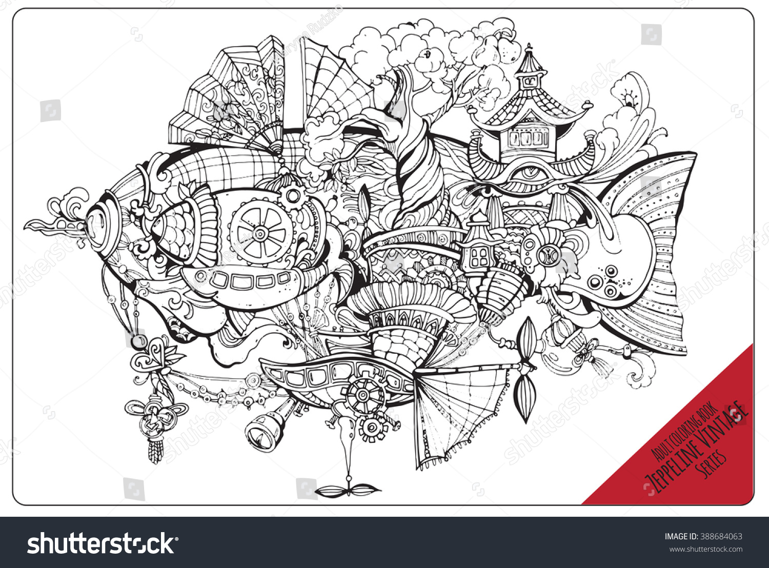 Vector Adult Coloring Book Page Black Stock Vector 388684063
