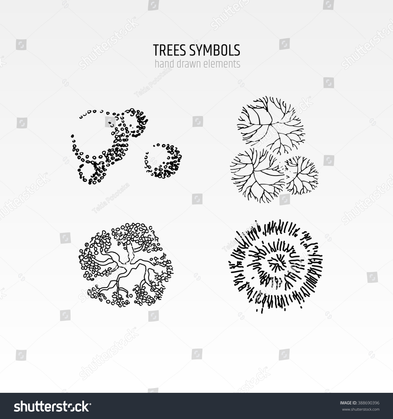 Architecture Drawing Symbols architecture drawing landscape design elements different stock