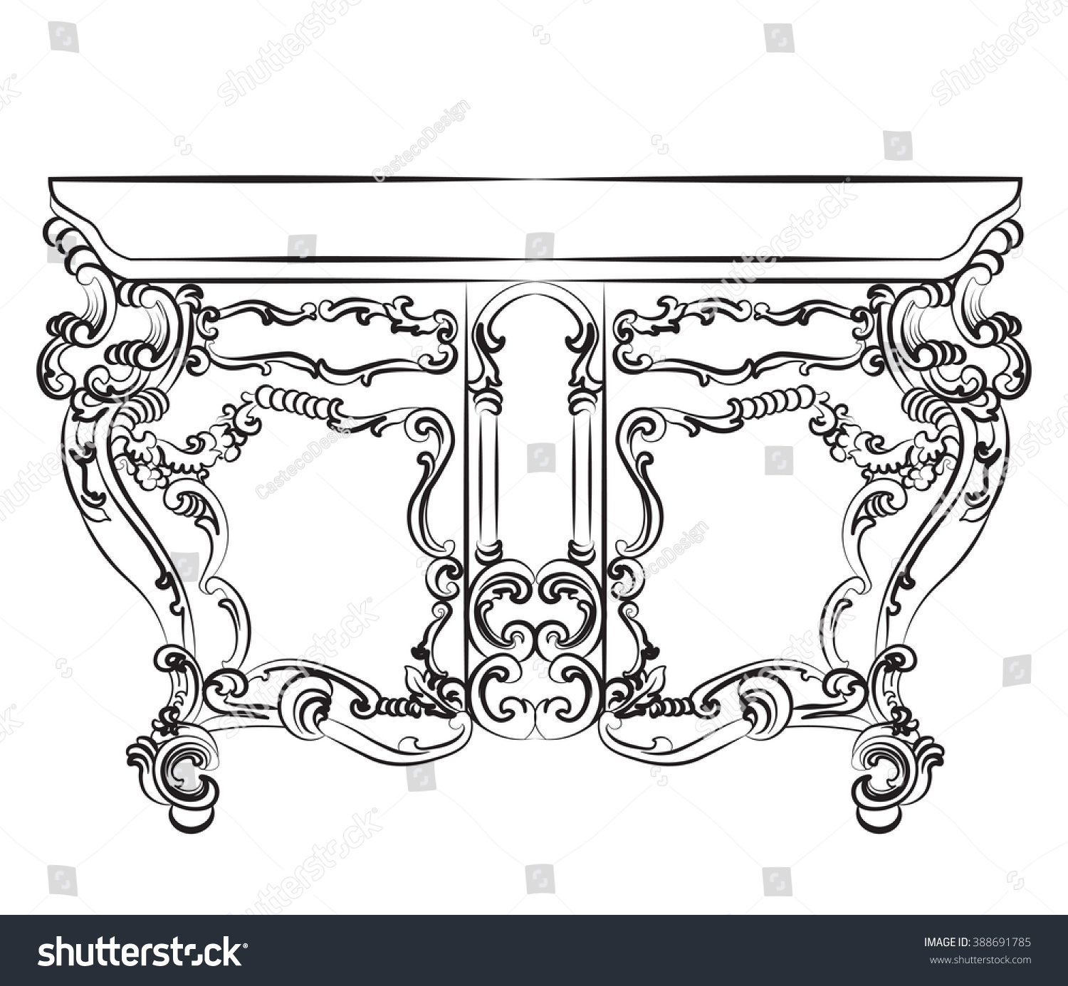 Rococo furniture sketch - Save To A Lightbox
