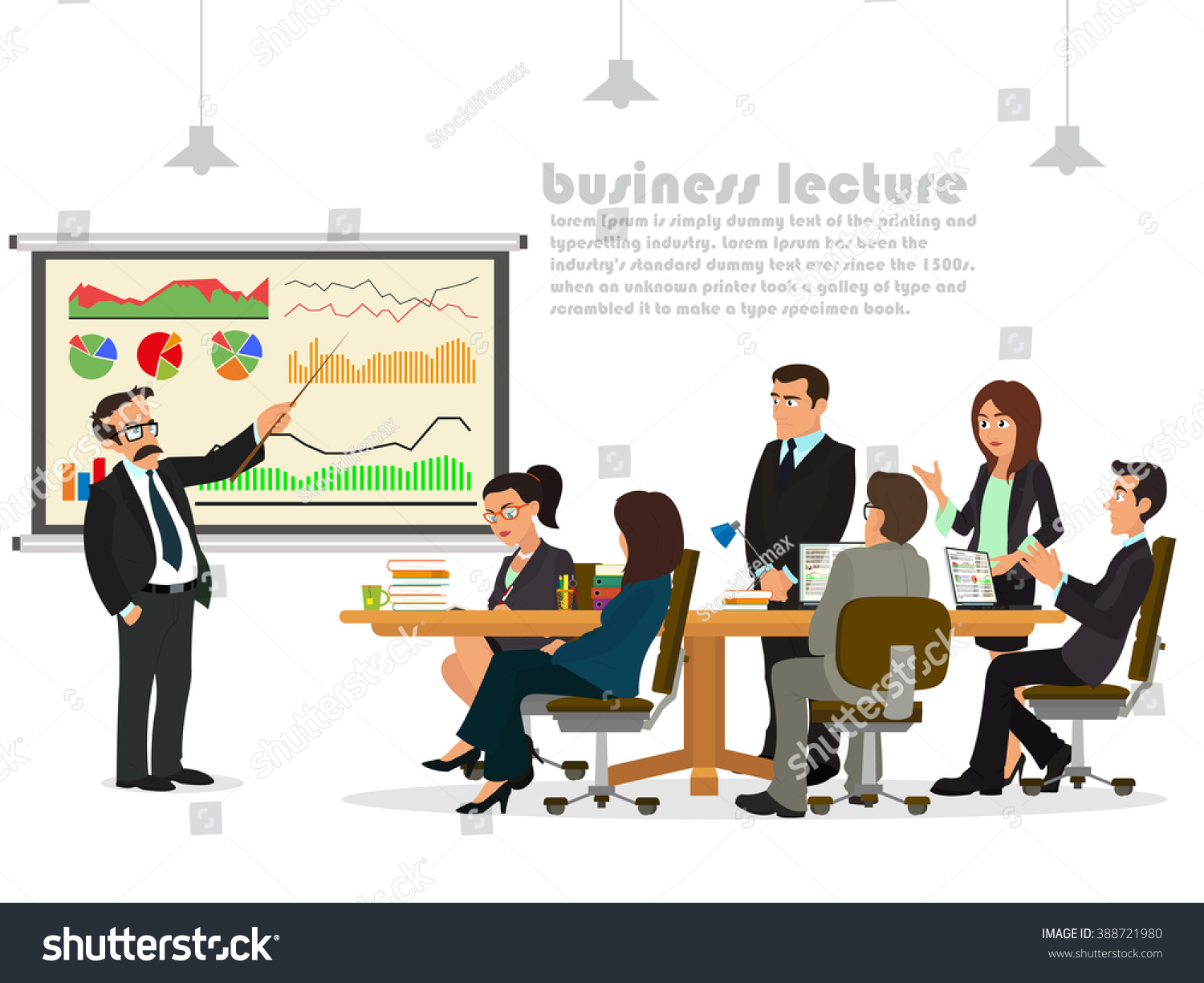 Business Teacher Giving Lecture Presentation Group Stock Vector ...