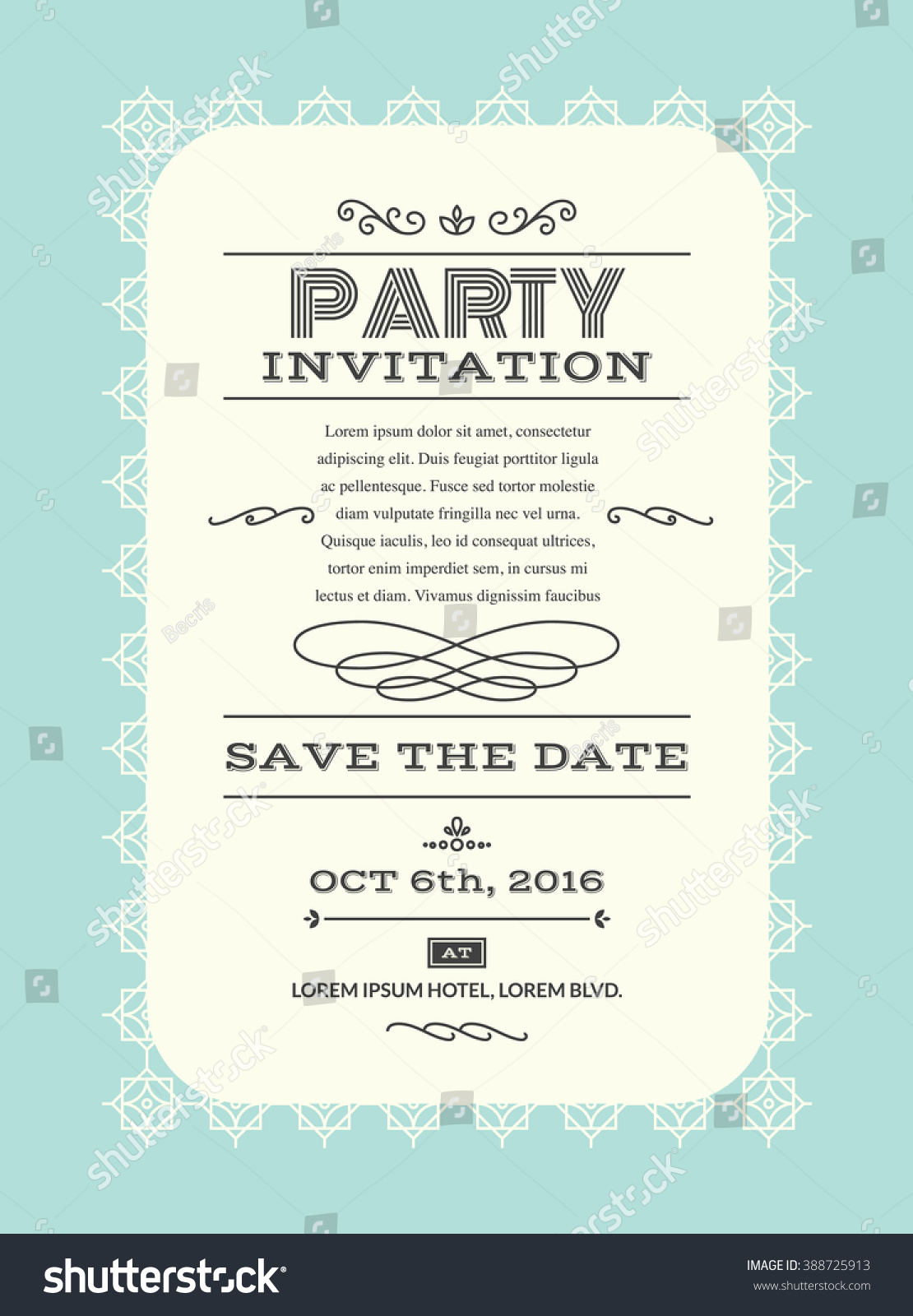 Wedding Party Invitation Card Layout Template Stock Vector (2018 ...